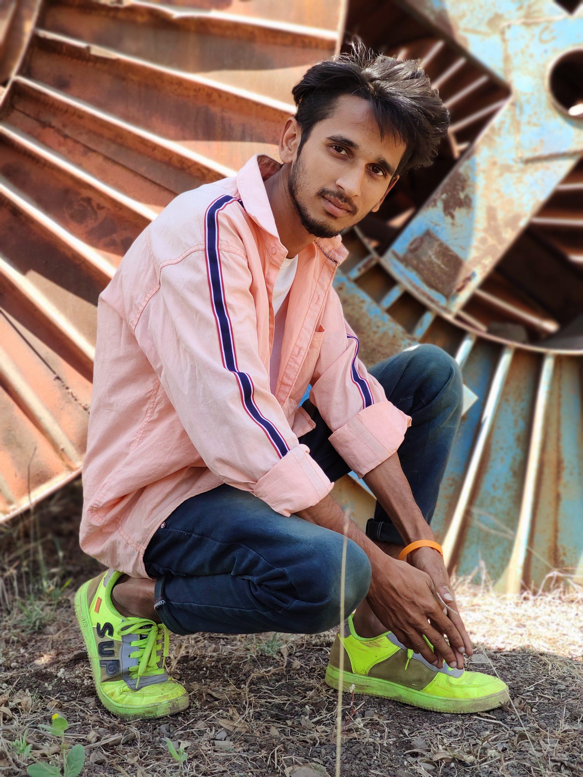 A boy posing