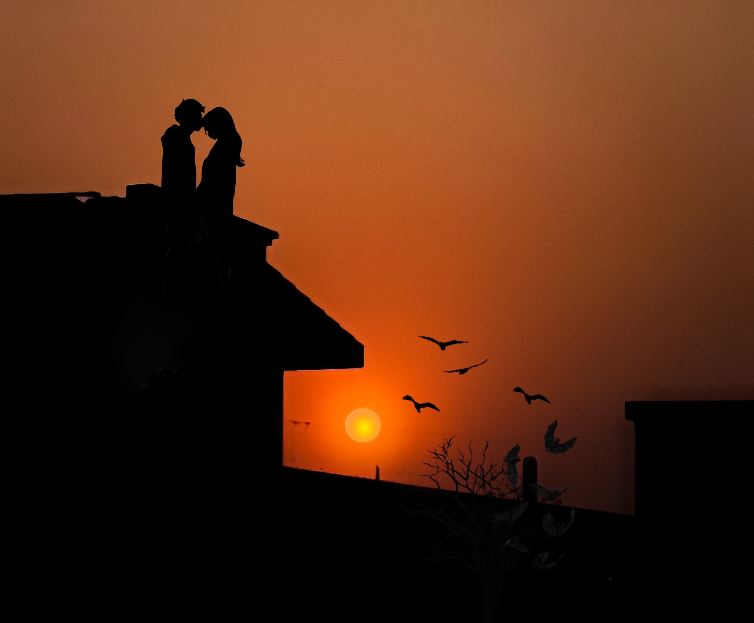 A couple during sunset