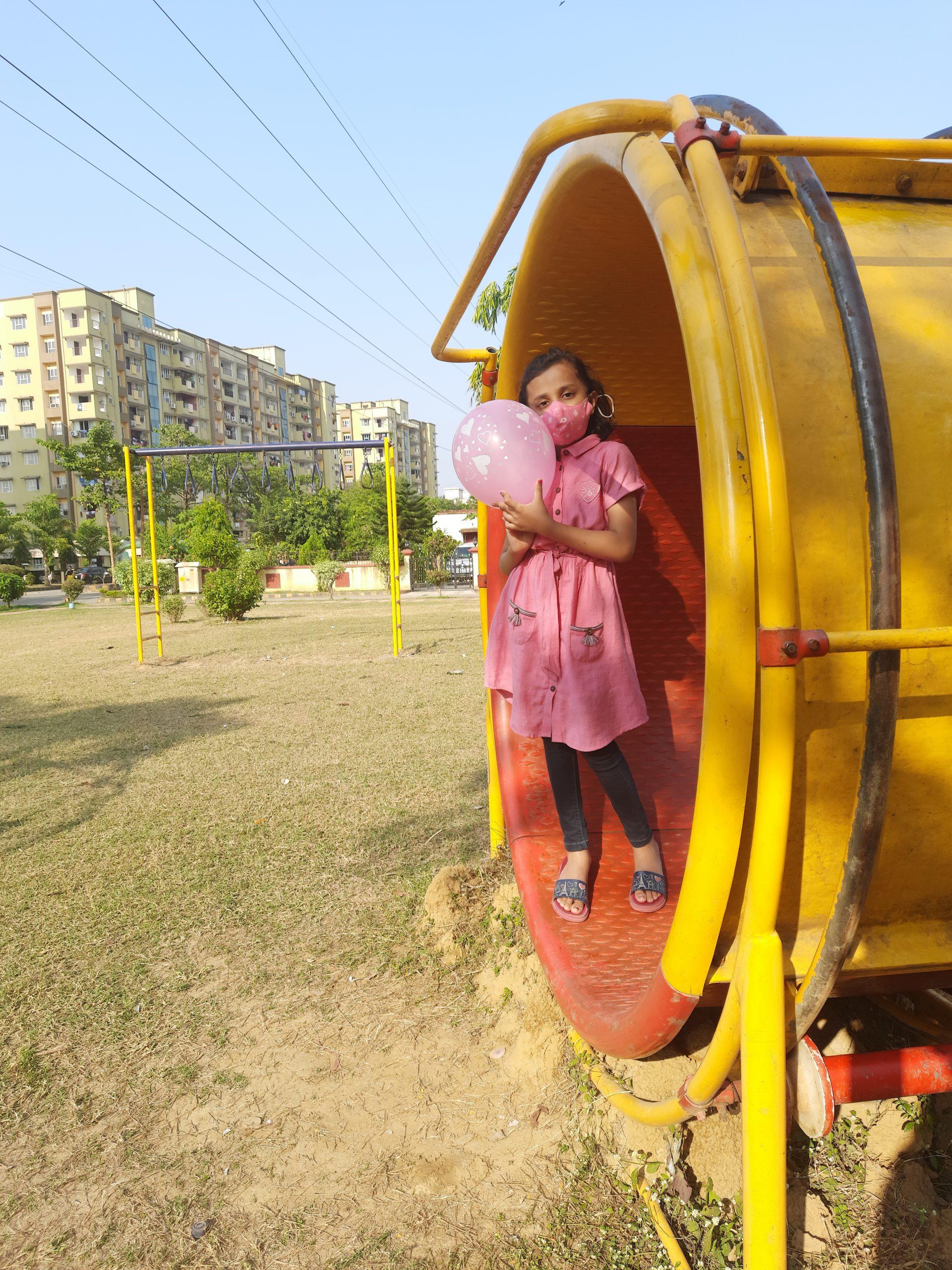A girl in an amusement