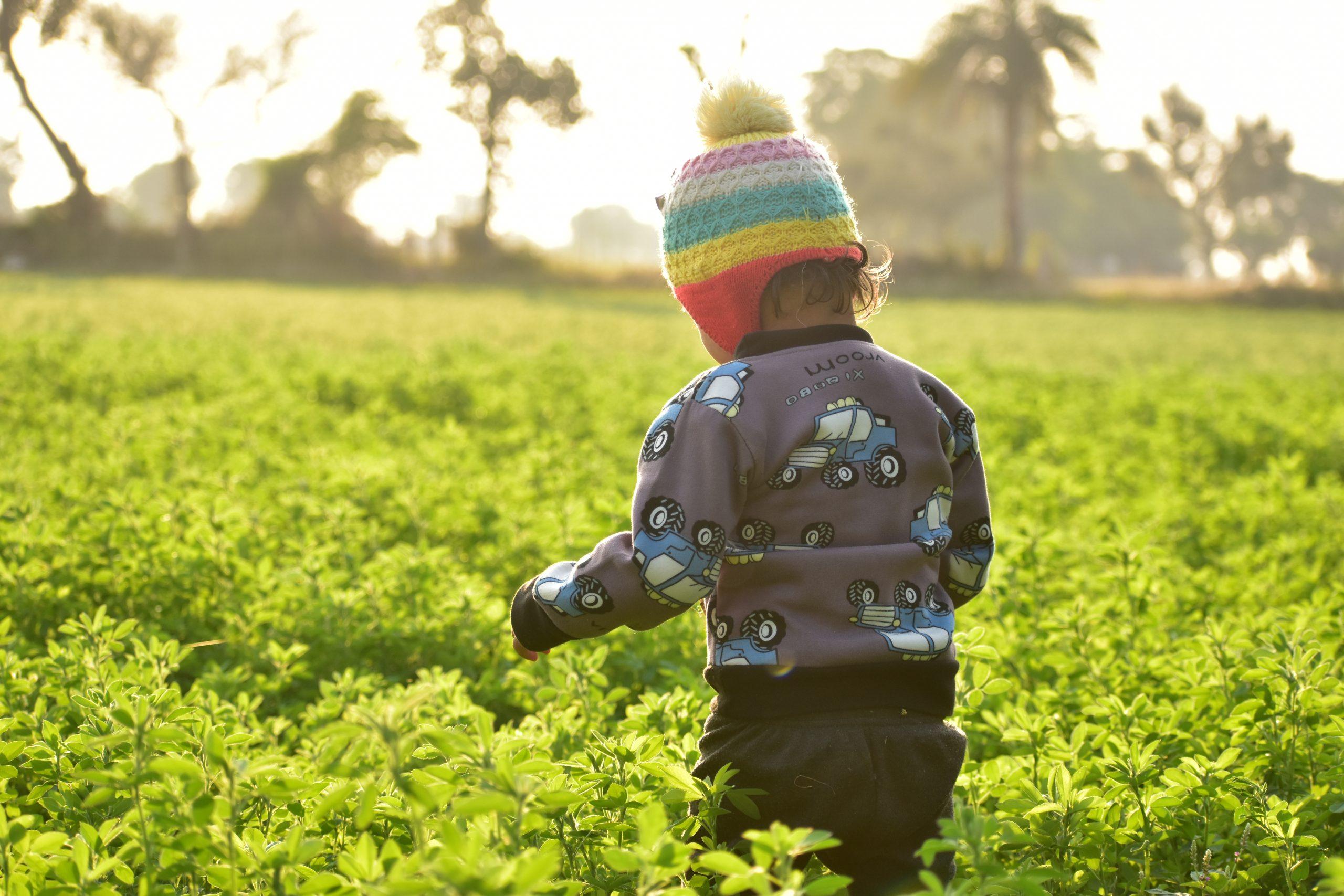 A kid in fields