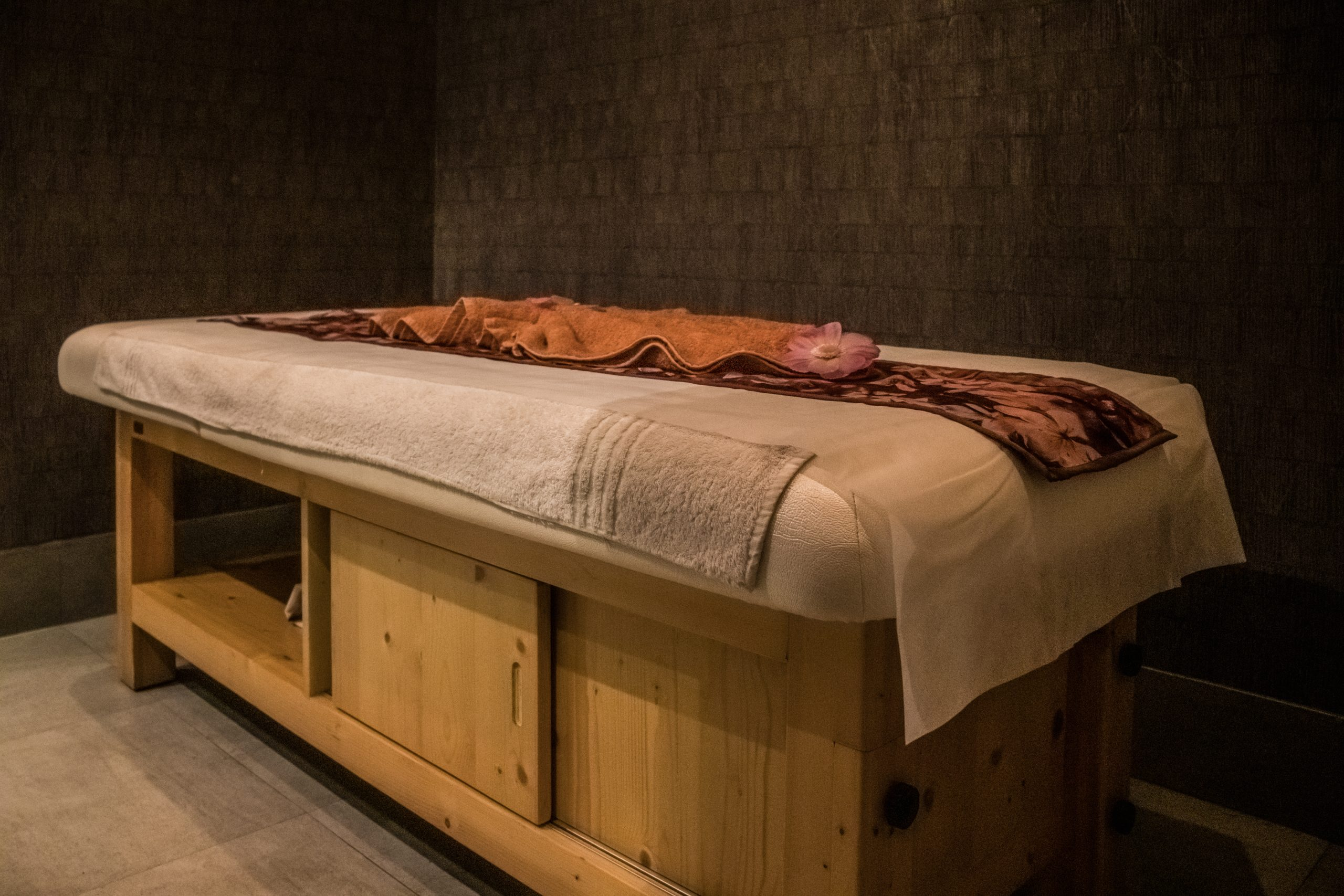 A massage table in a spa