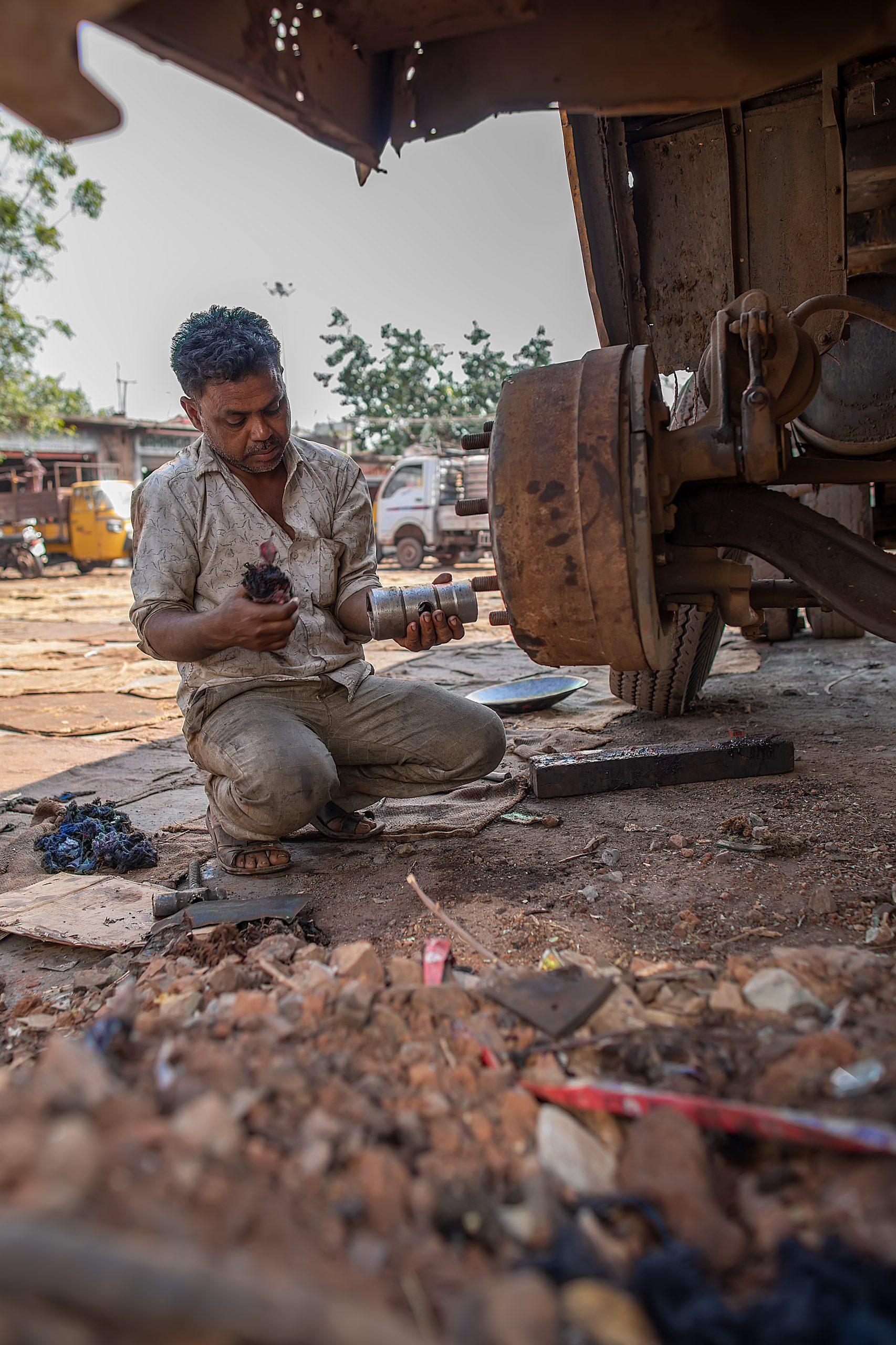 A mechanic at his shop