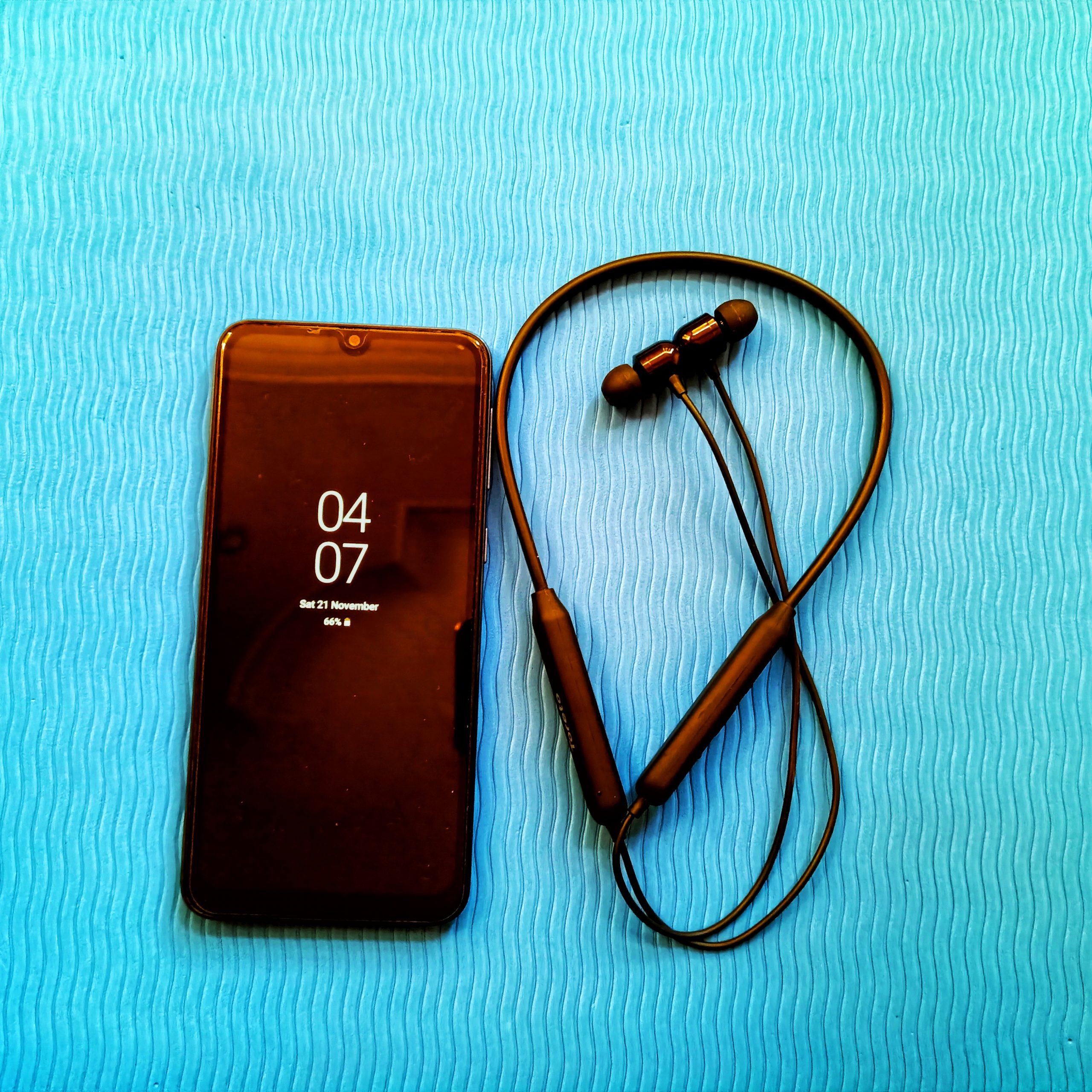 A phone and earphones