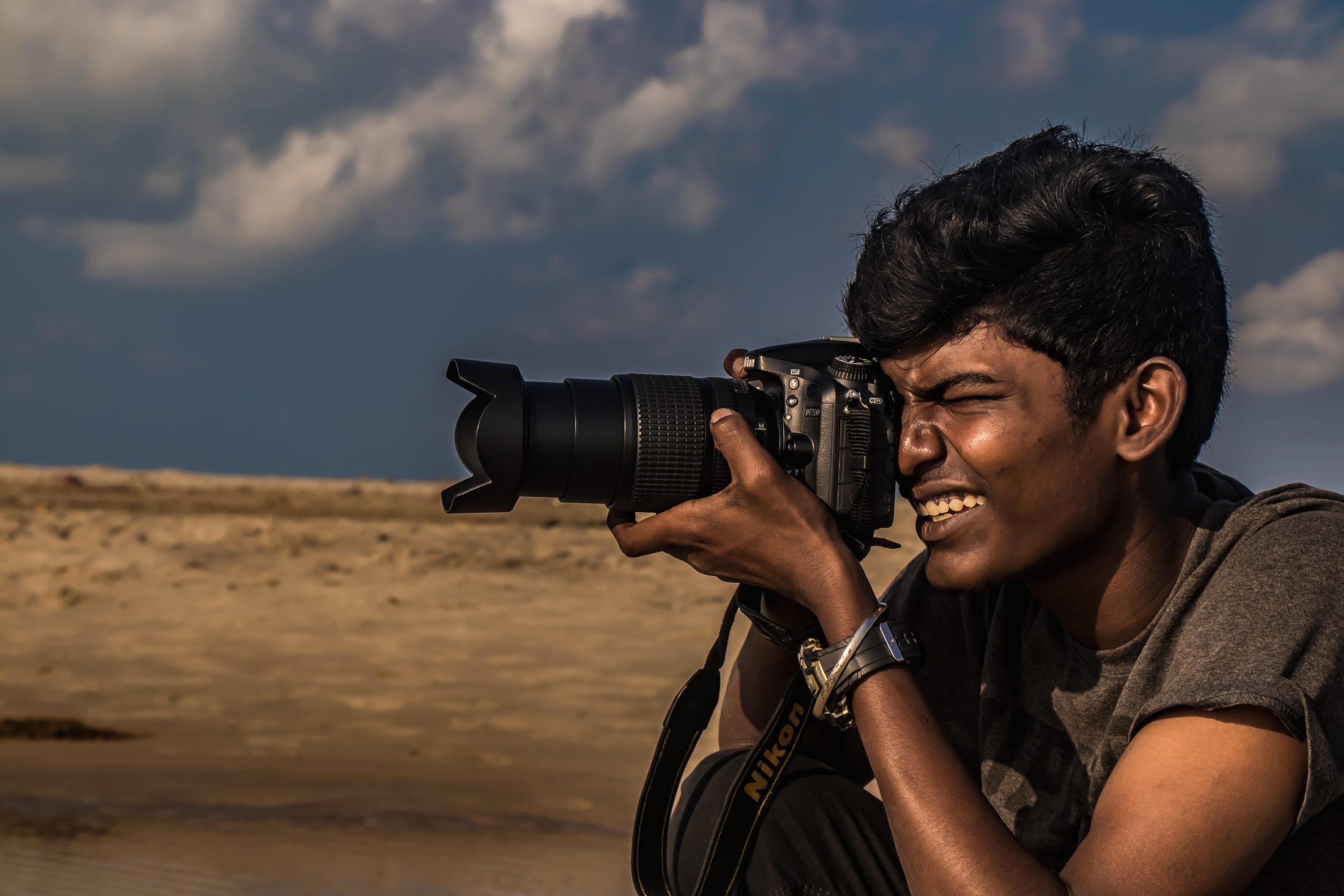 A photographer taking a shot