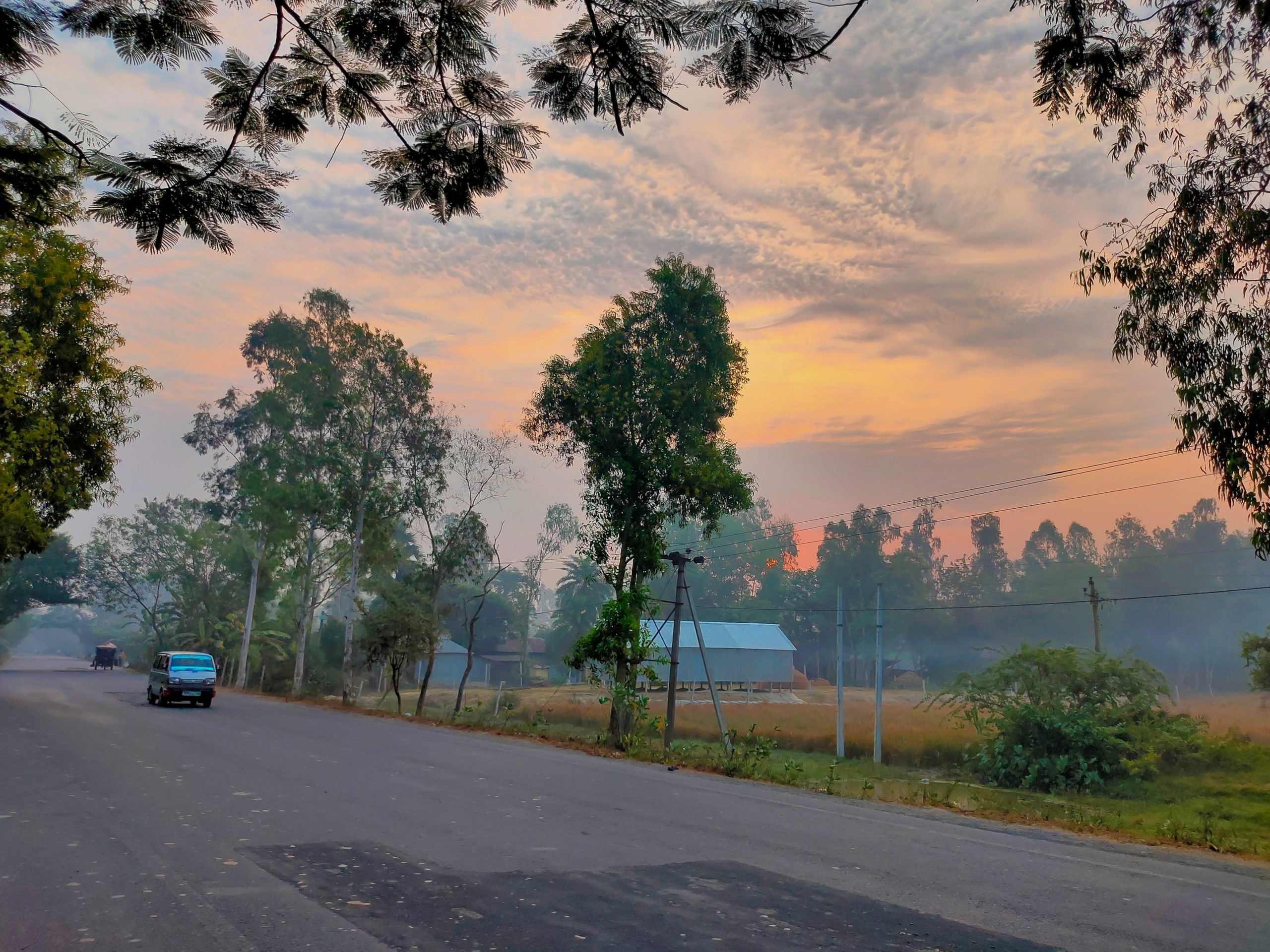Morning of a road in a village