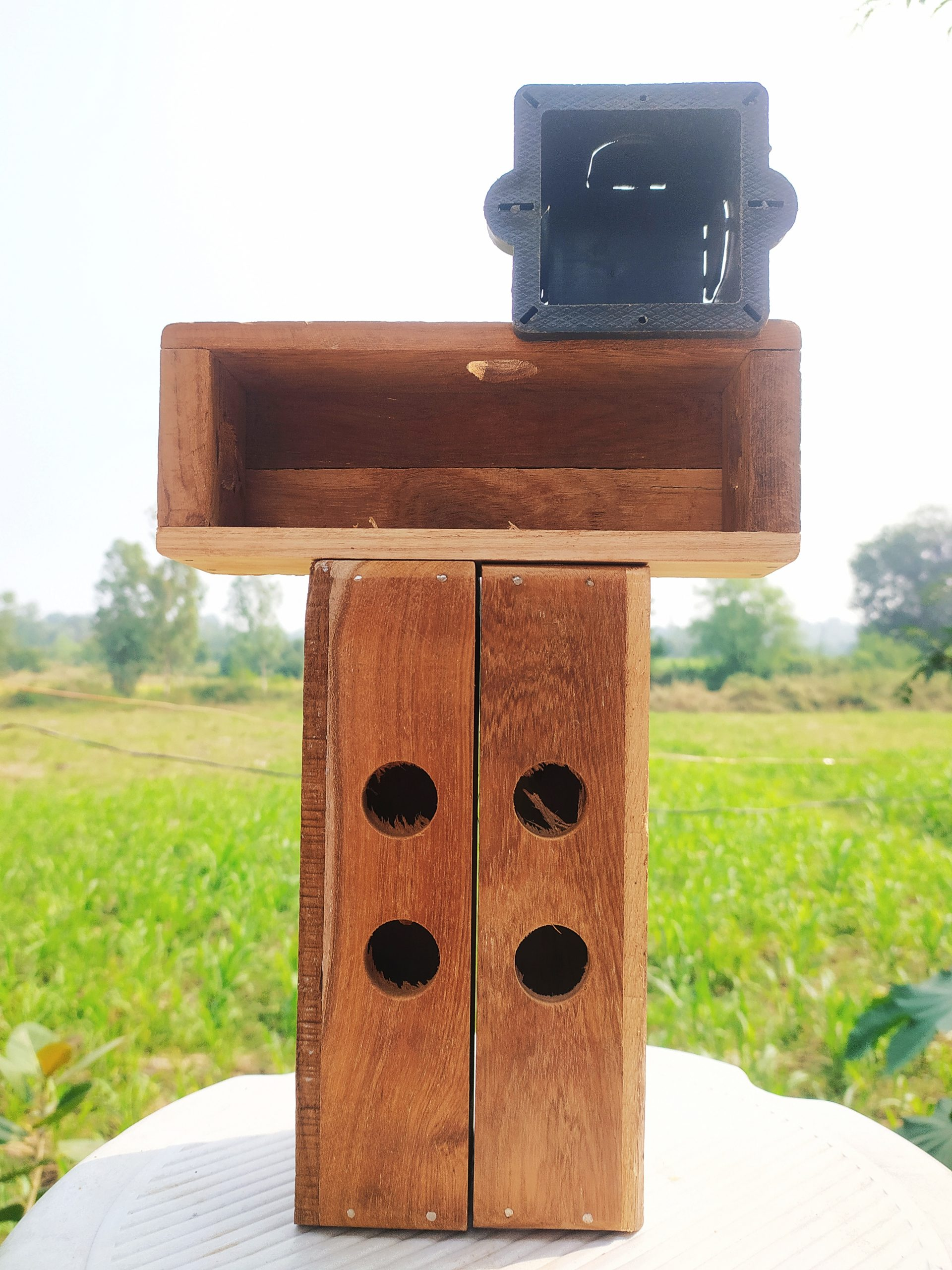 A switch board wooden frame