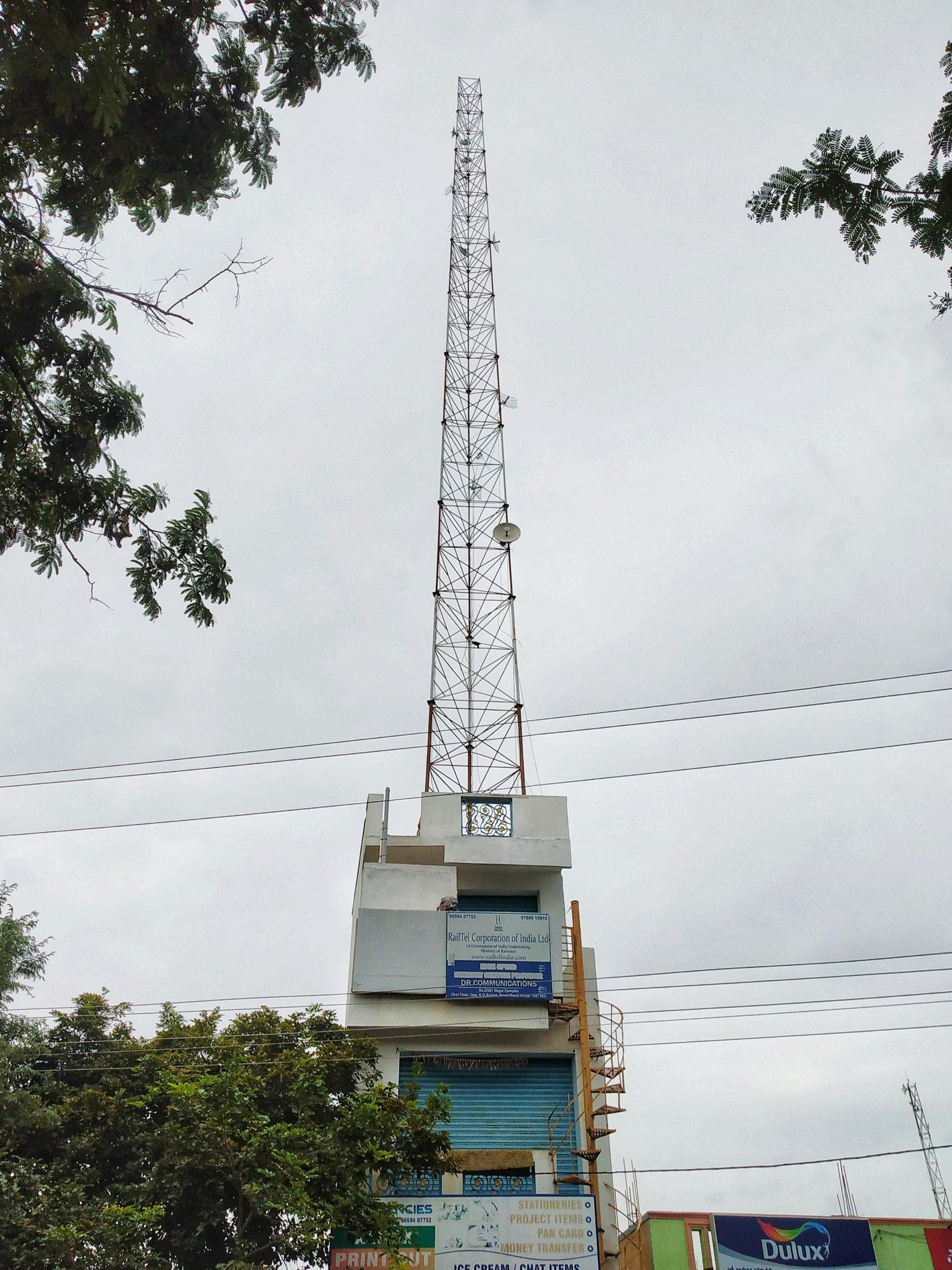 A telecom tower on a building