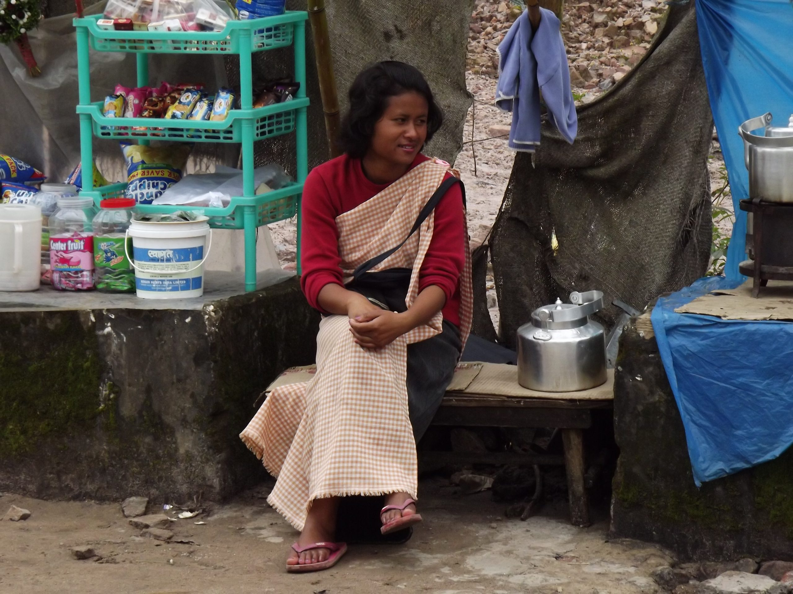 A woman at tea stall