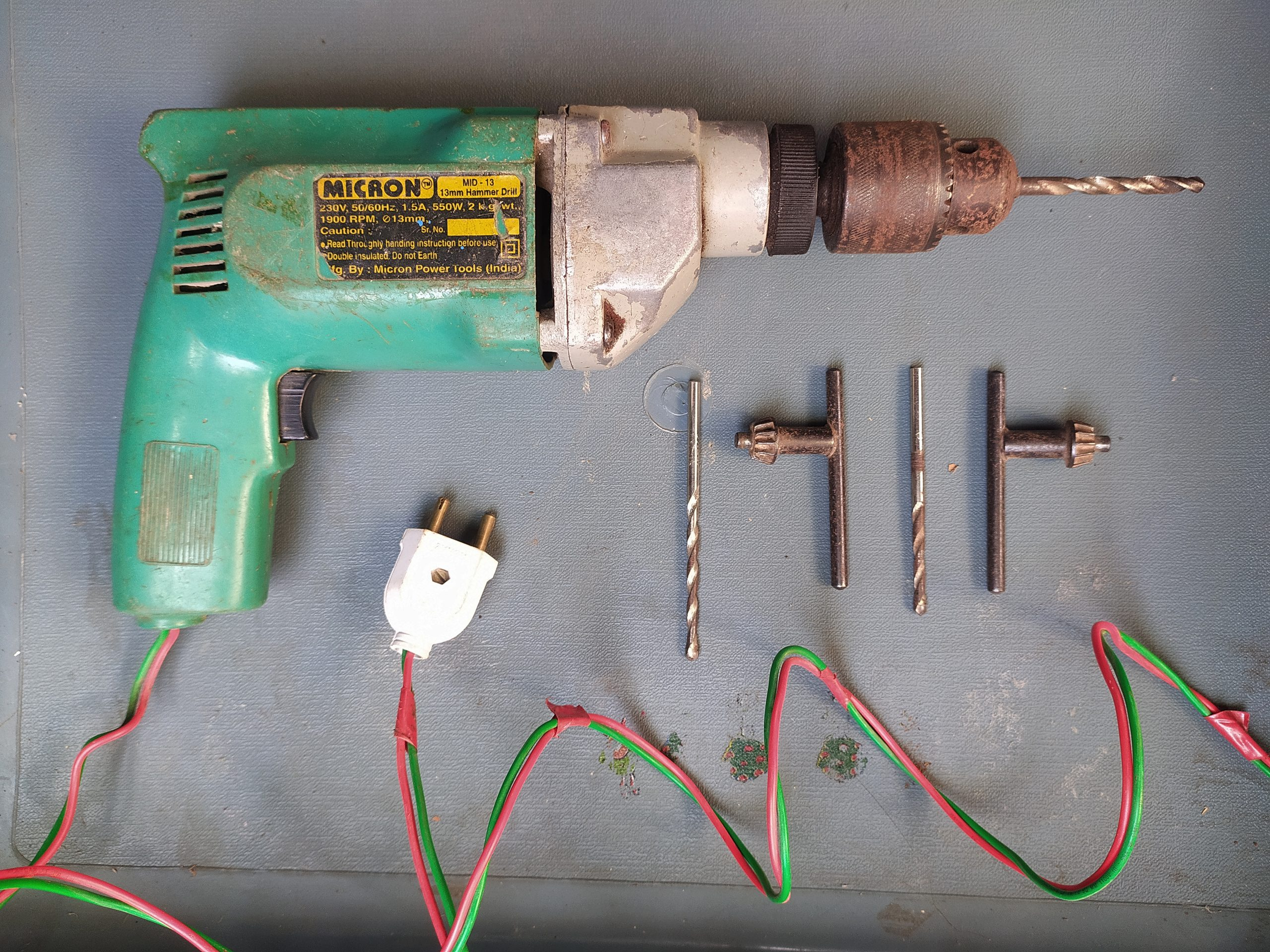 An electric drill machine and bits