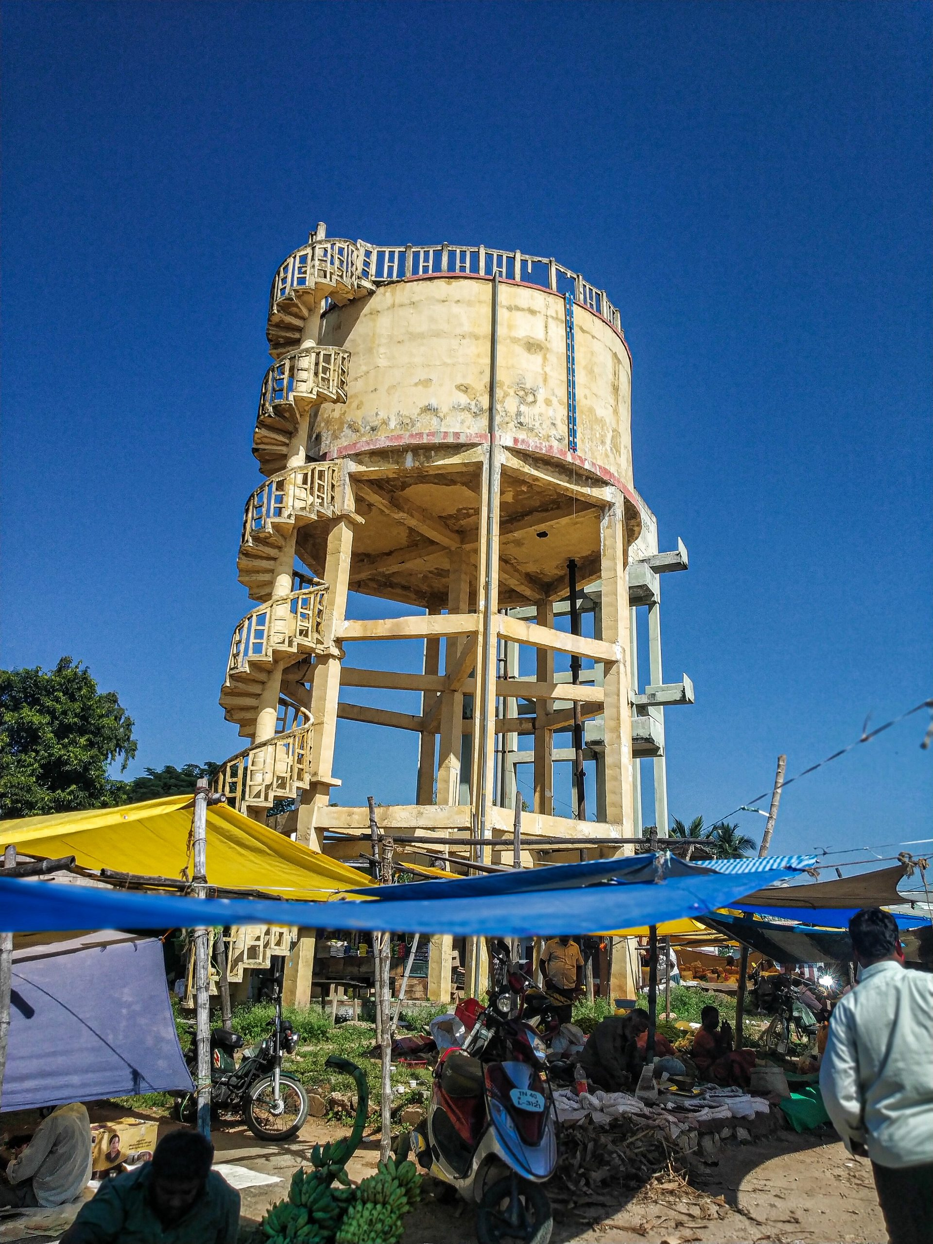 An elevated water tank