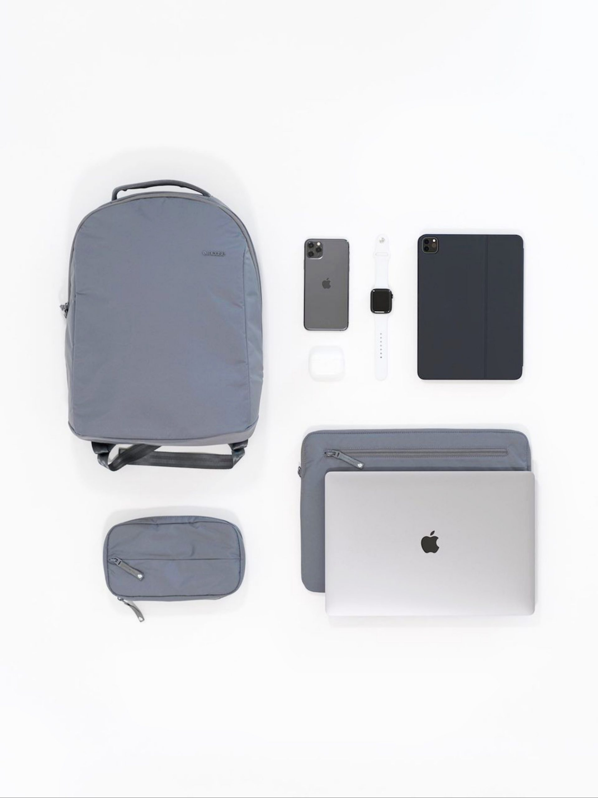 Apple laptop and bags