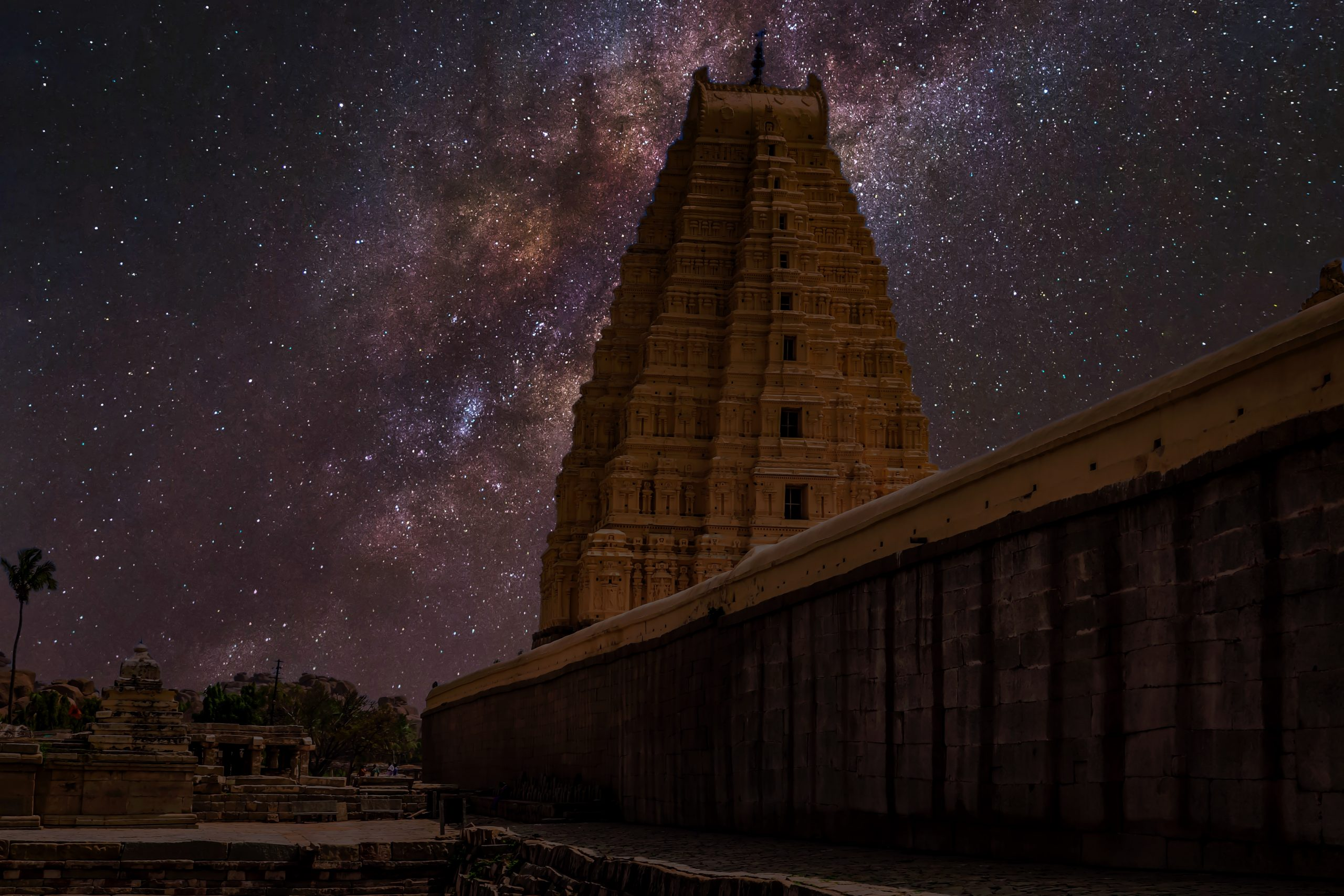 Night view of Hampi Virupaksha temple