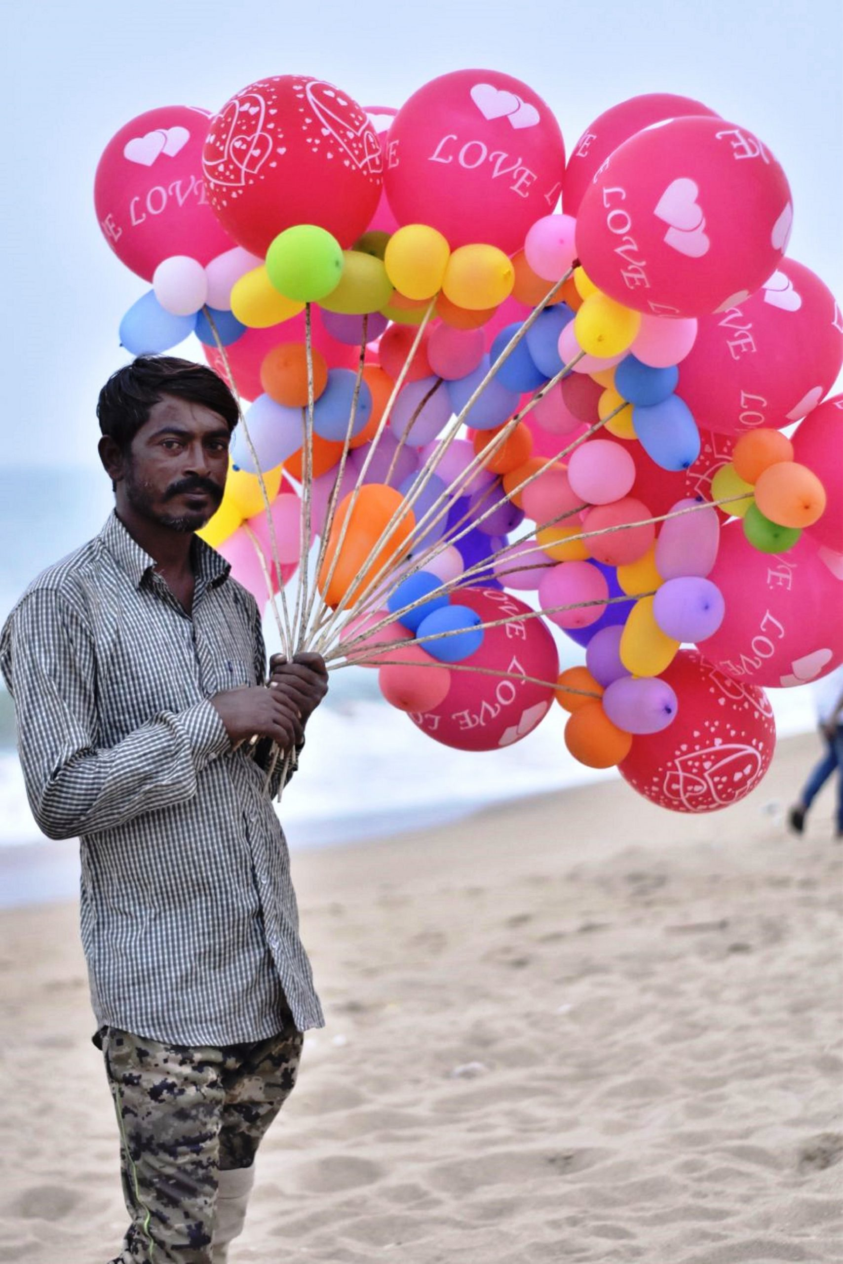 balloon seller with balloons