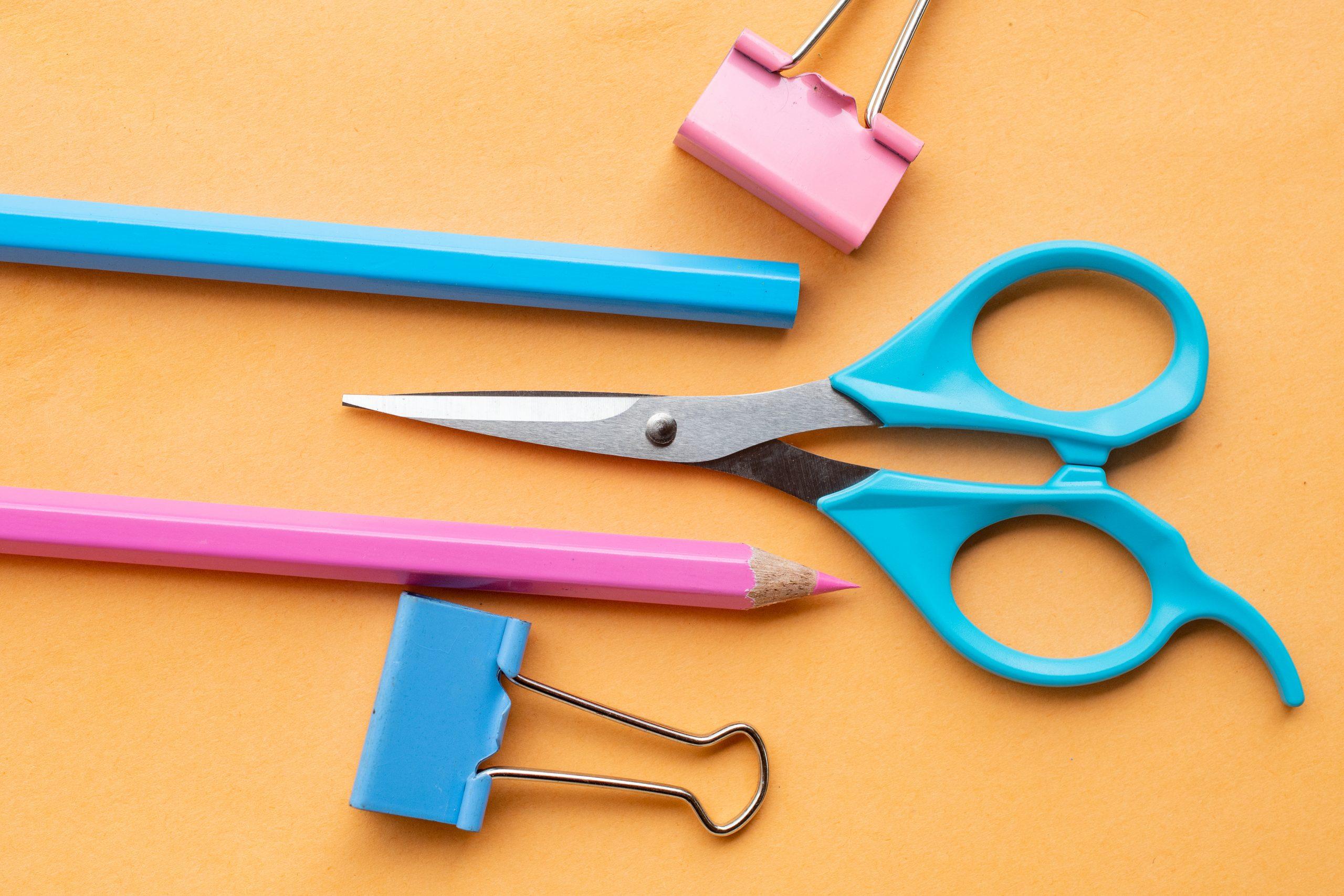 pencil colors, scissors, paper clips
