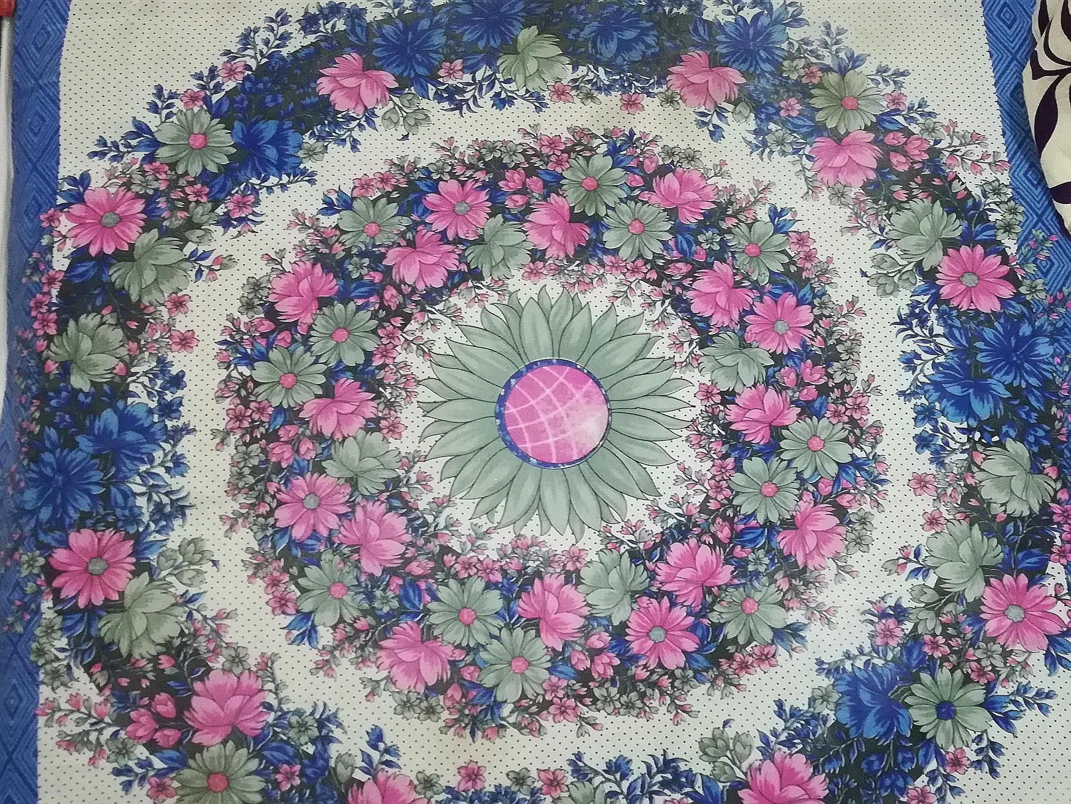 A floral bed sheet