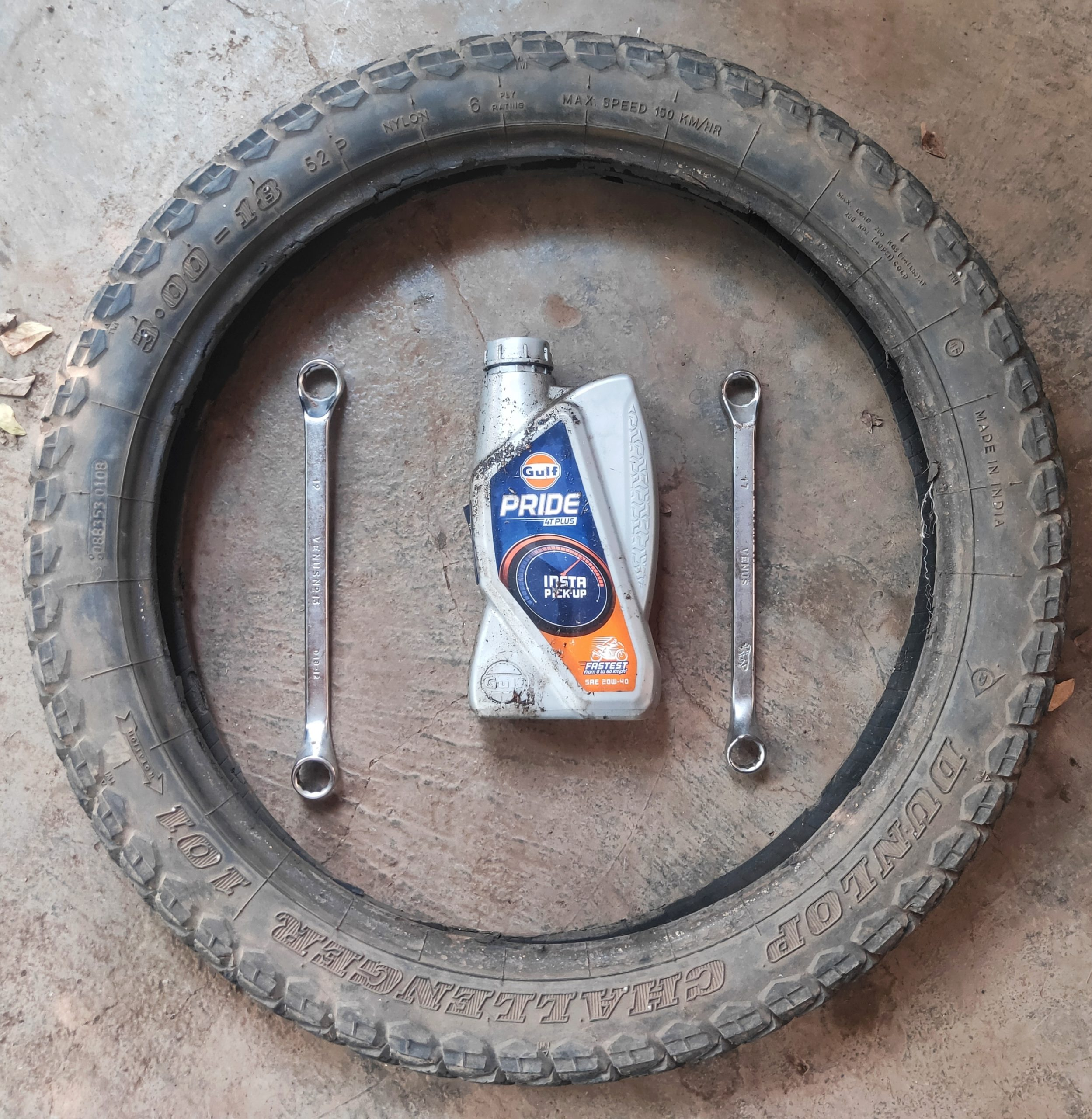 Bike tyre and tools