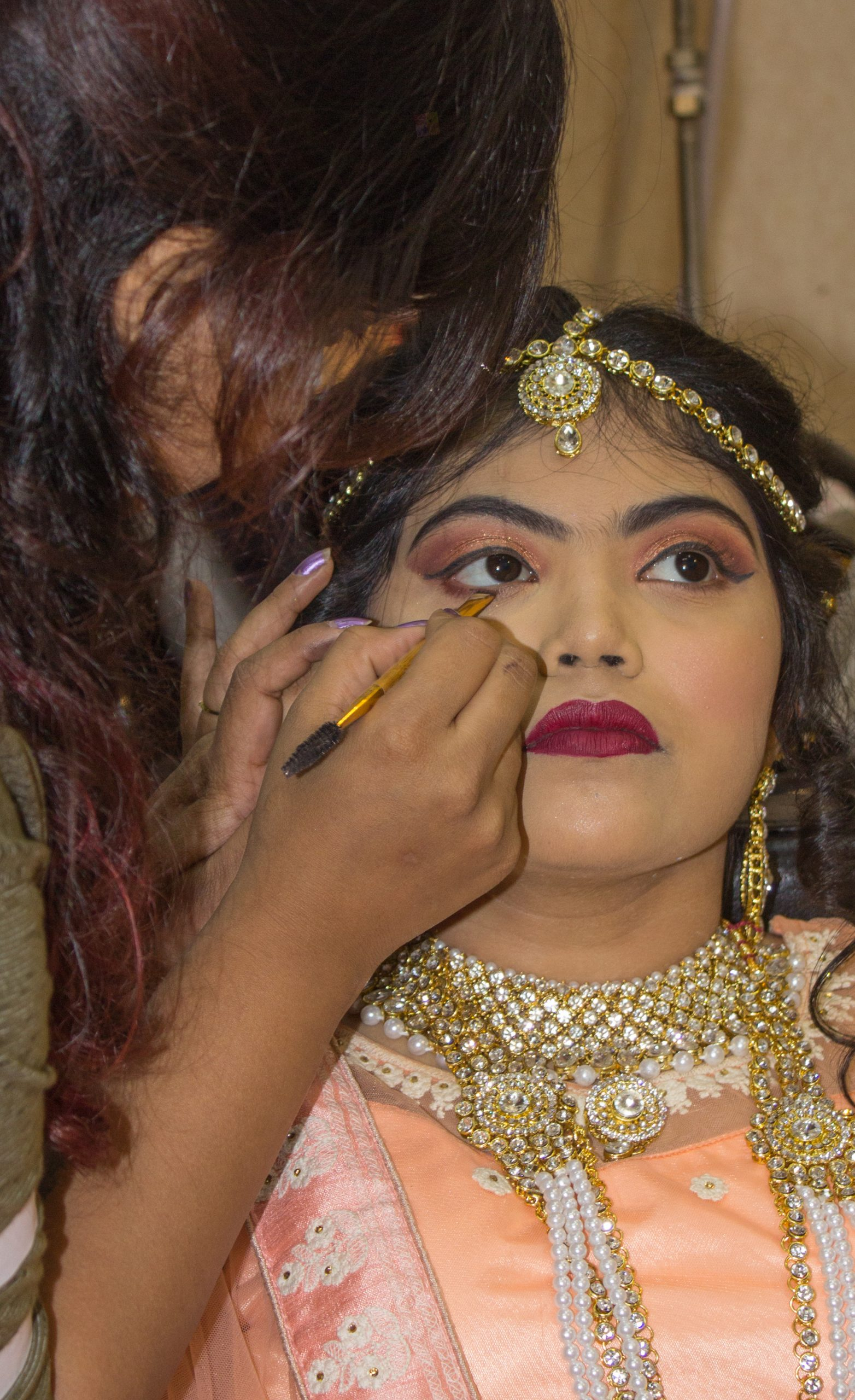 A bride getting ready