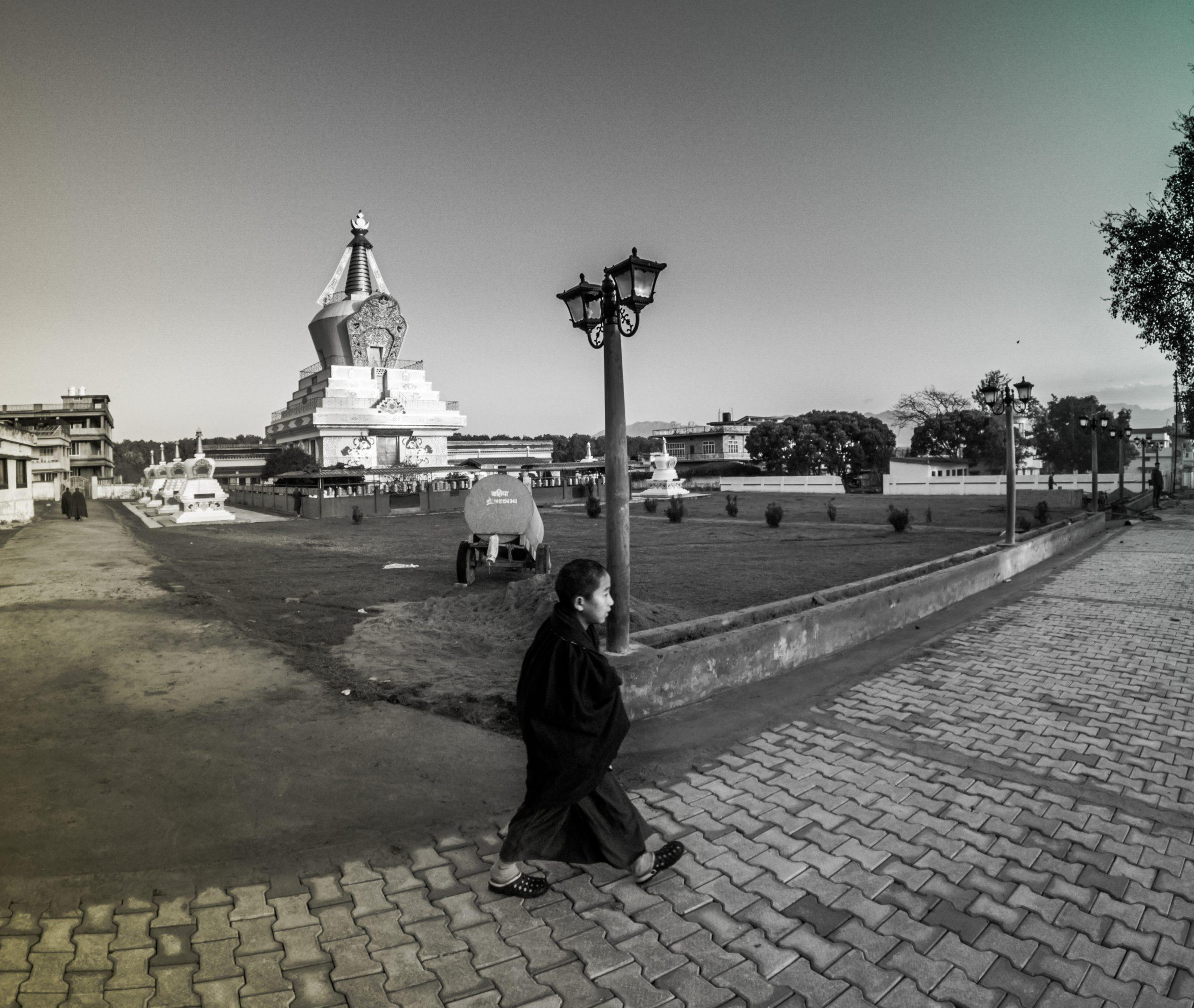 A Buddhist priest walking