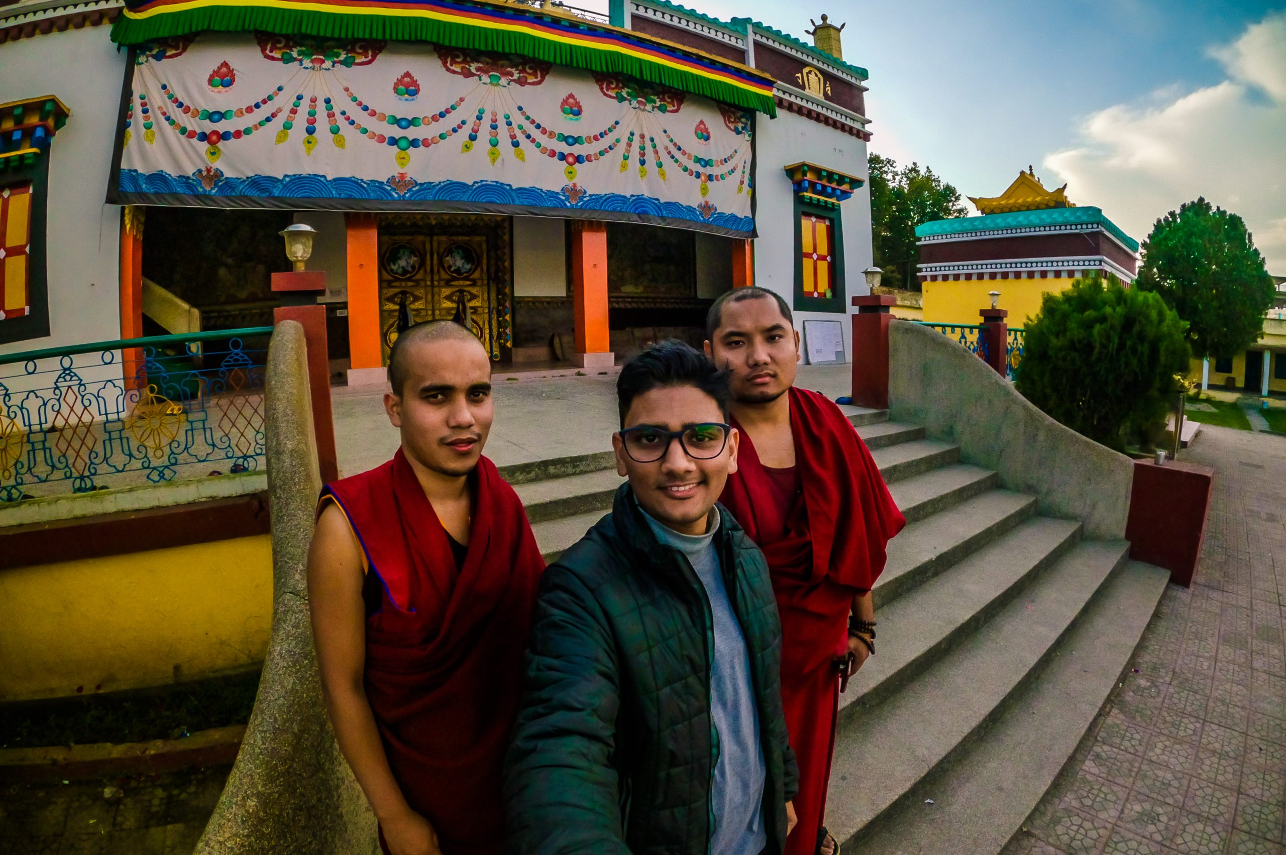 A boy with Buddhist Priests