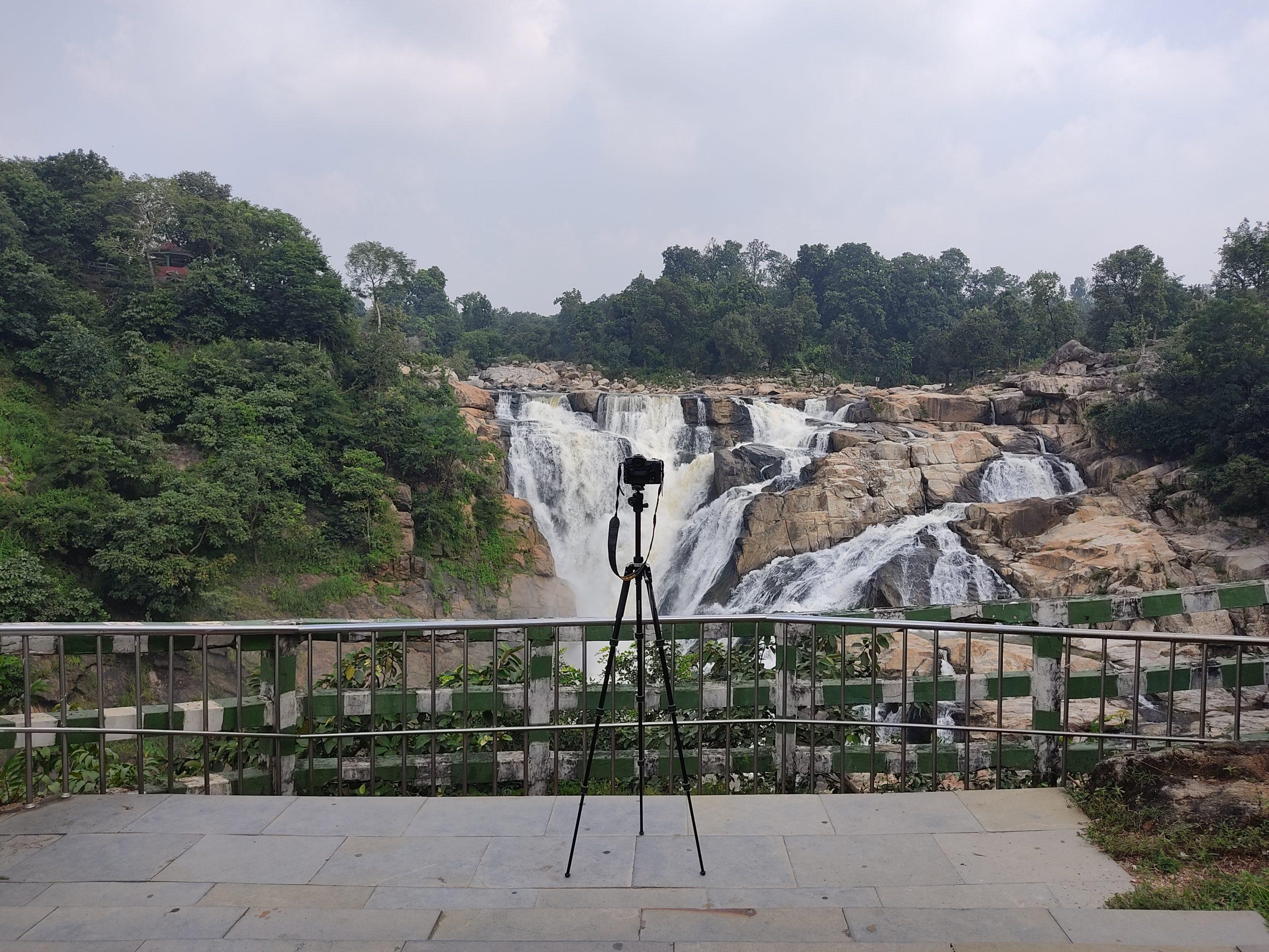 Camera tripod and waterfall