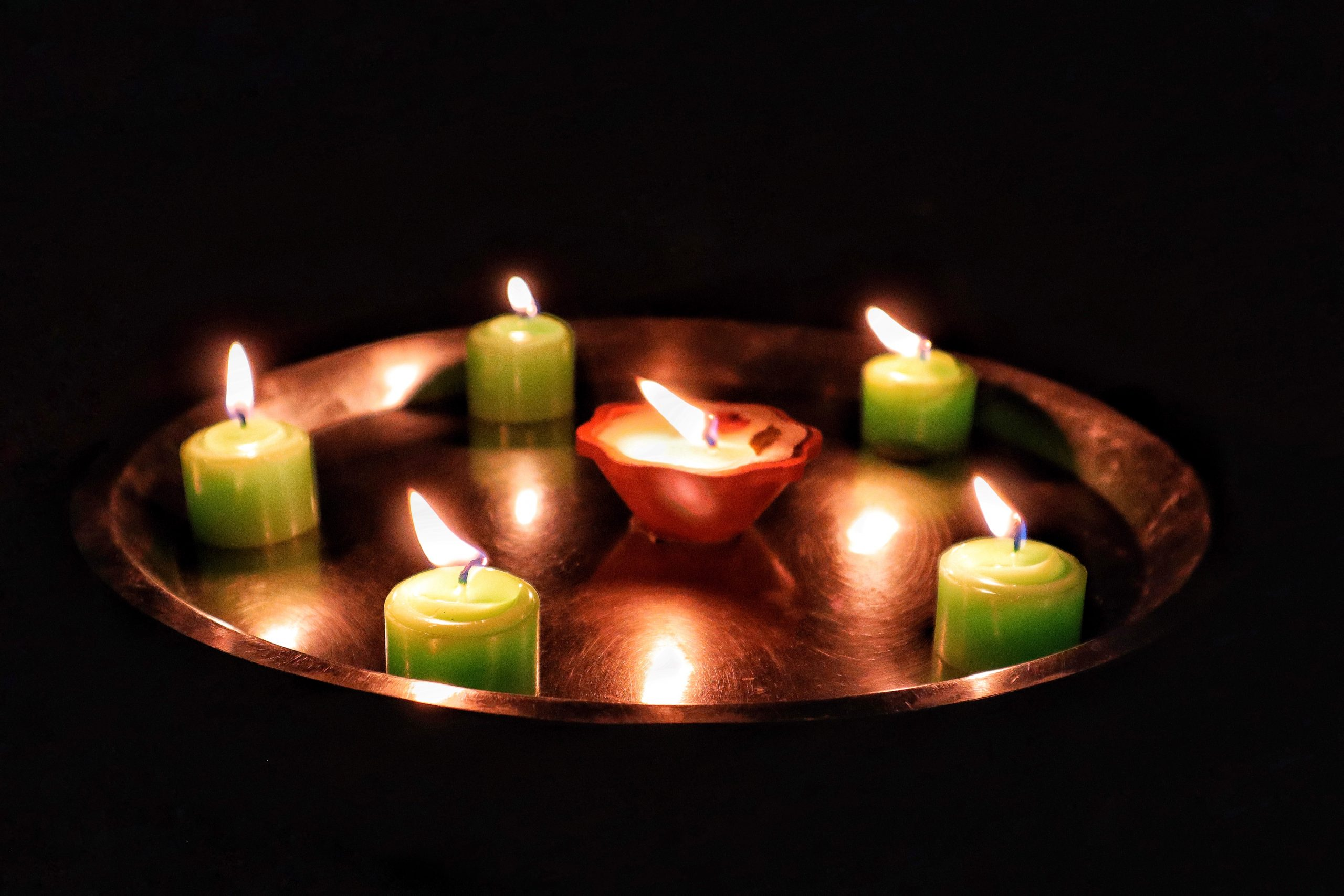 Candles in a tray