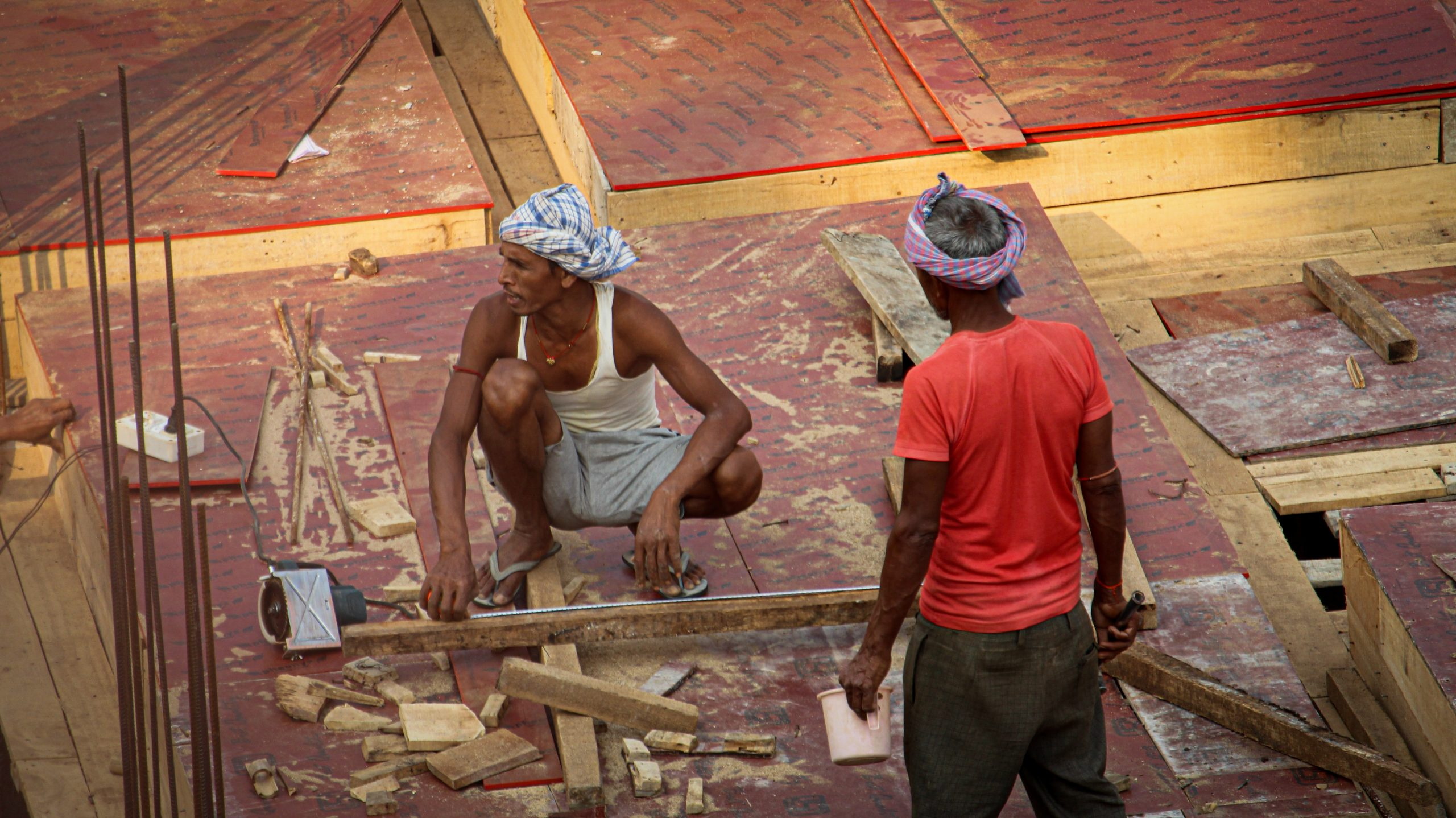 Carpenters working on a building