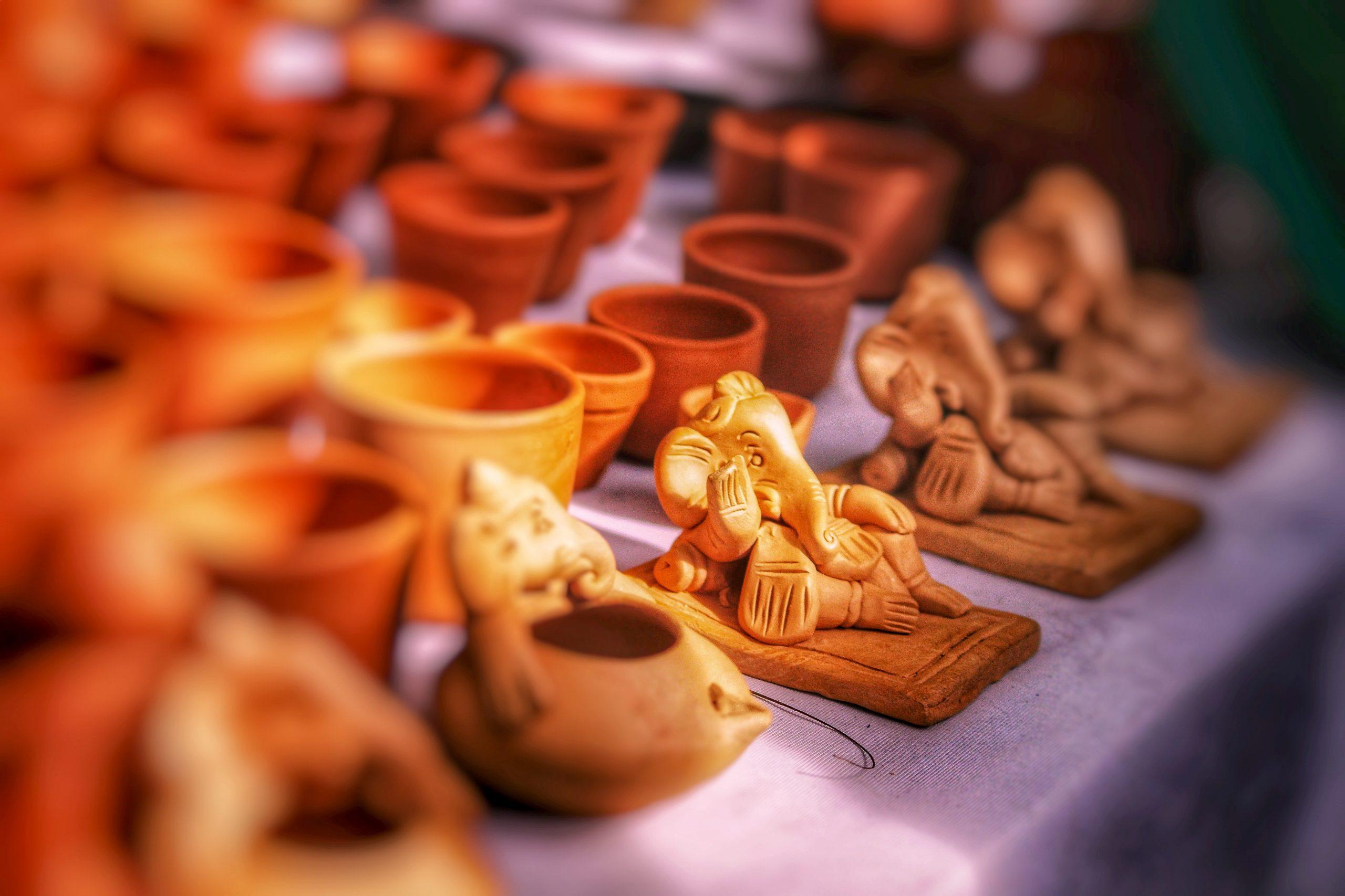 Clay idols and pots