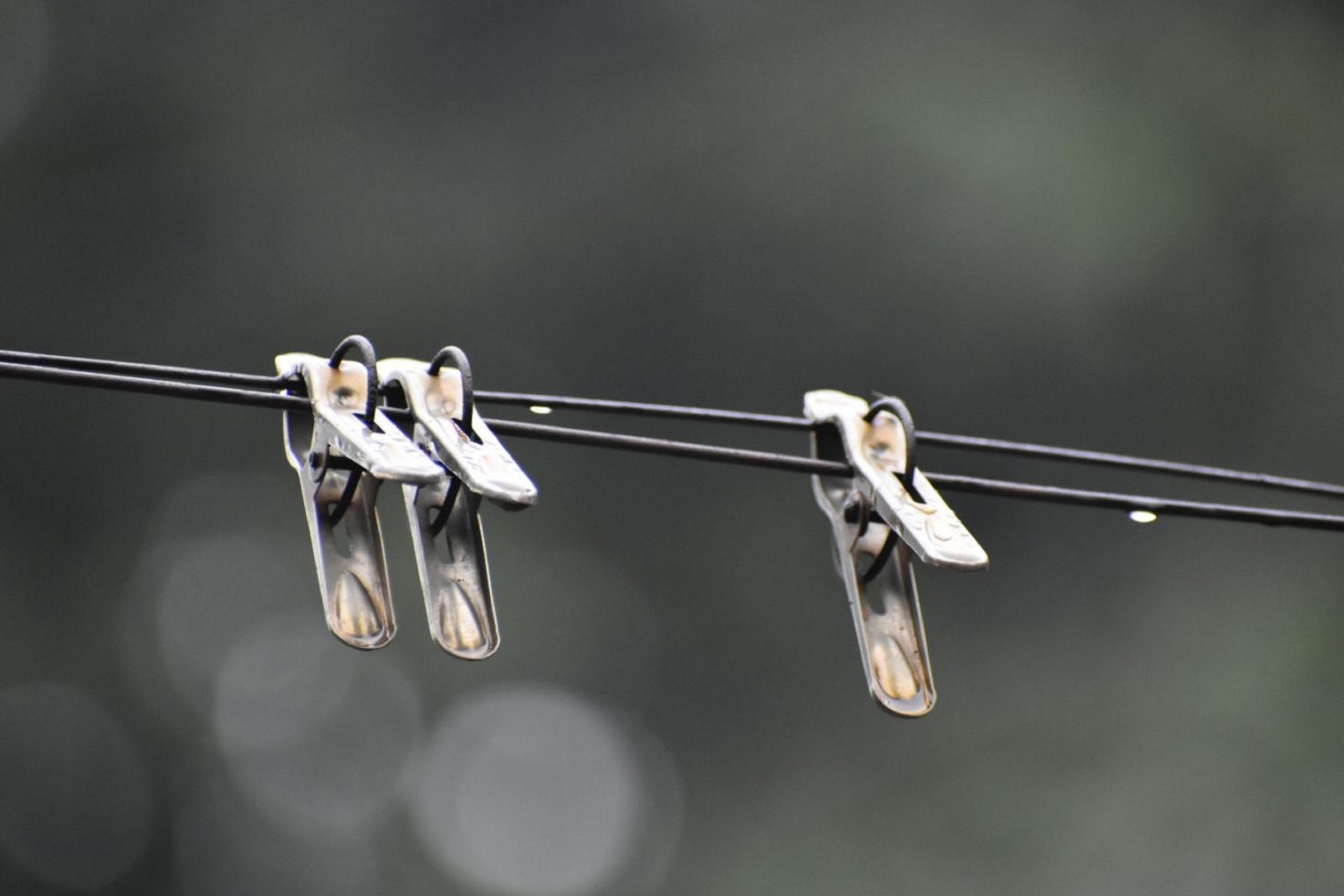 cloth pegs on clothes line
