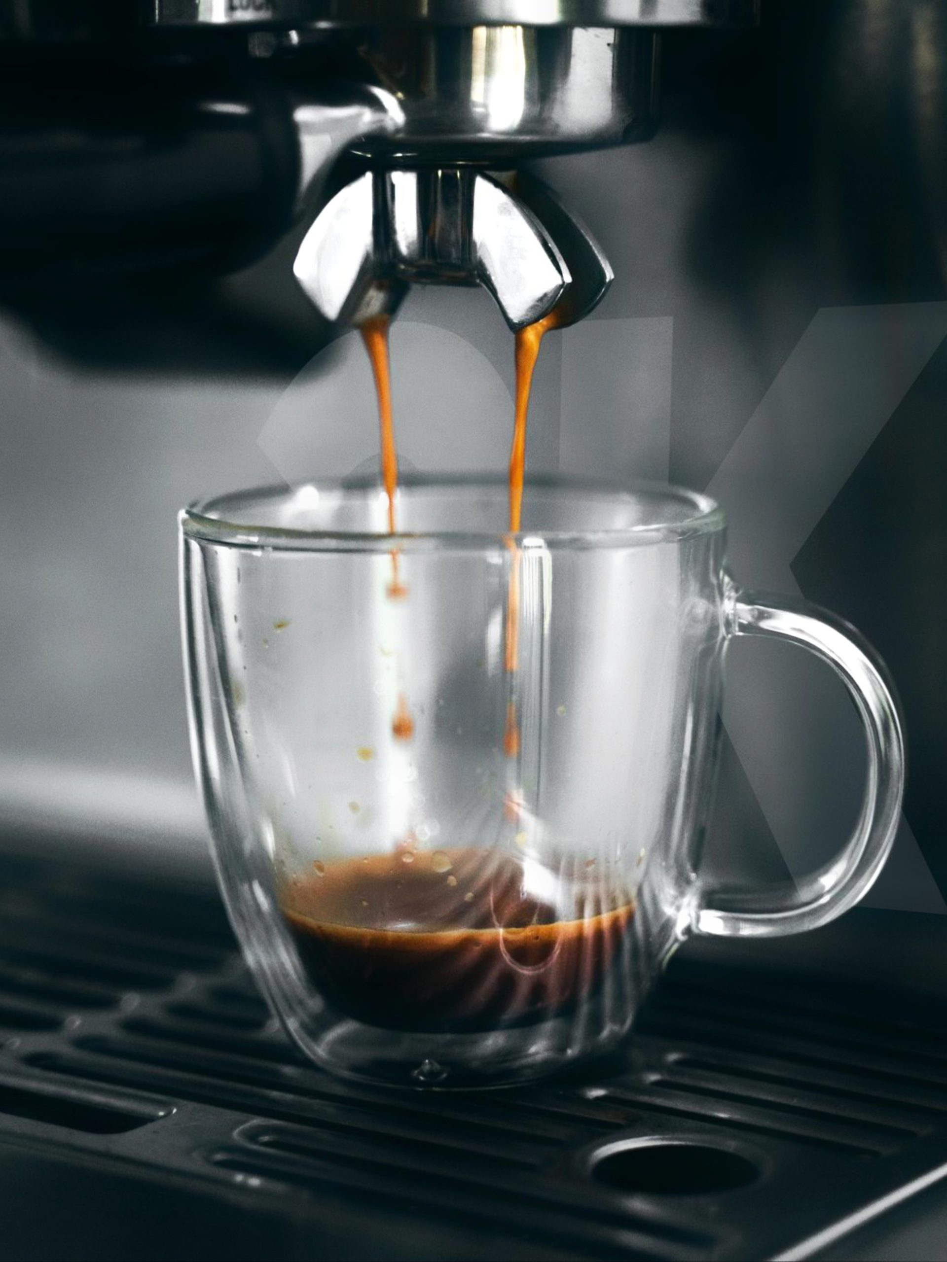 Pouring coffee from machine