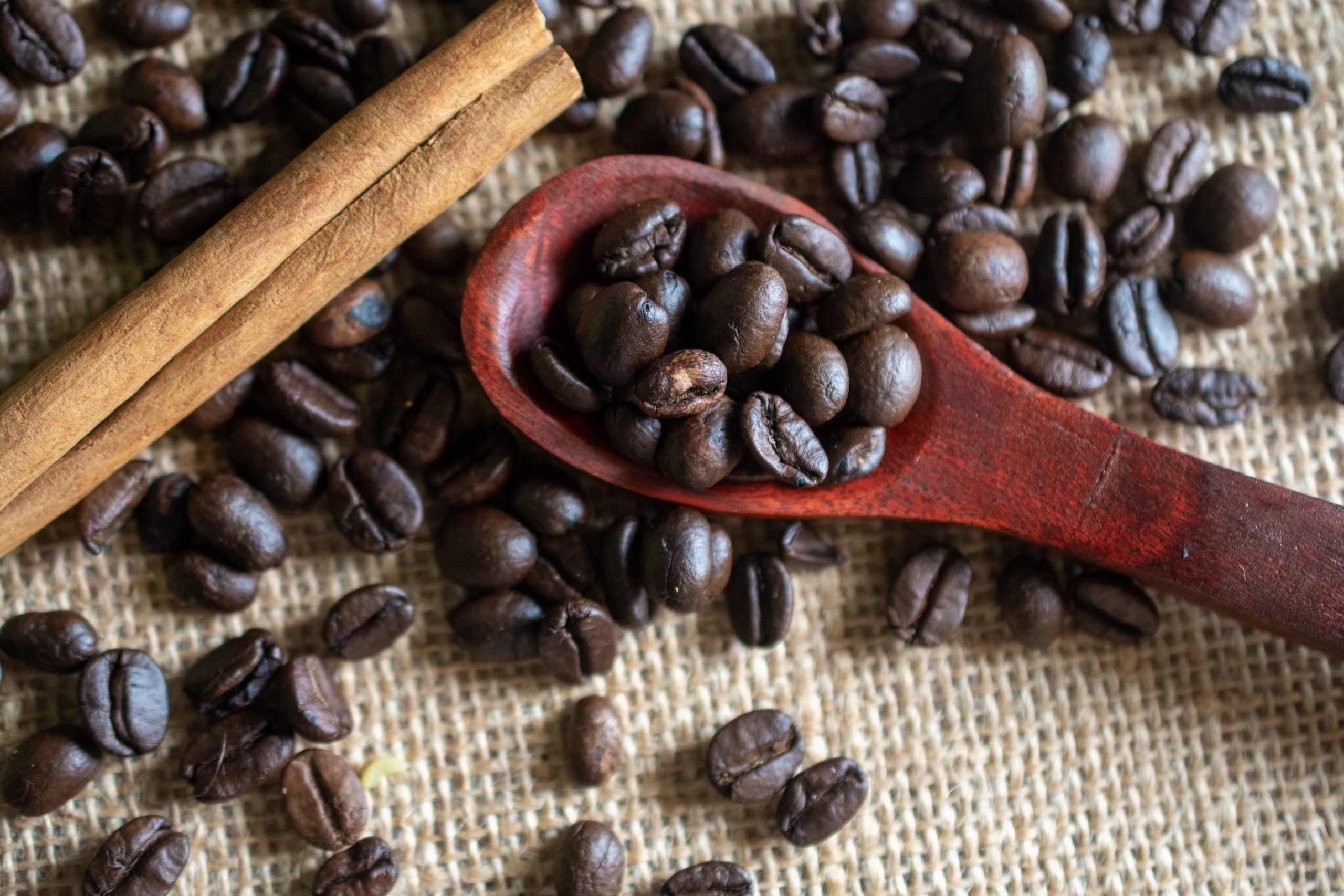 coffee beans on spoon