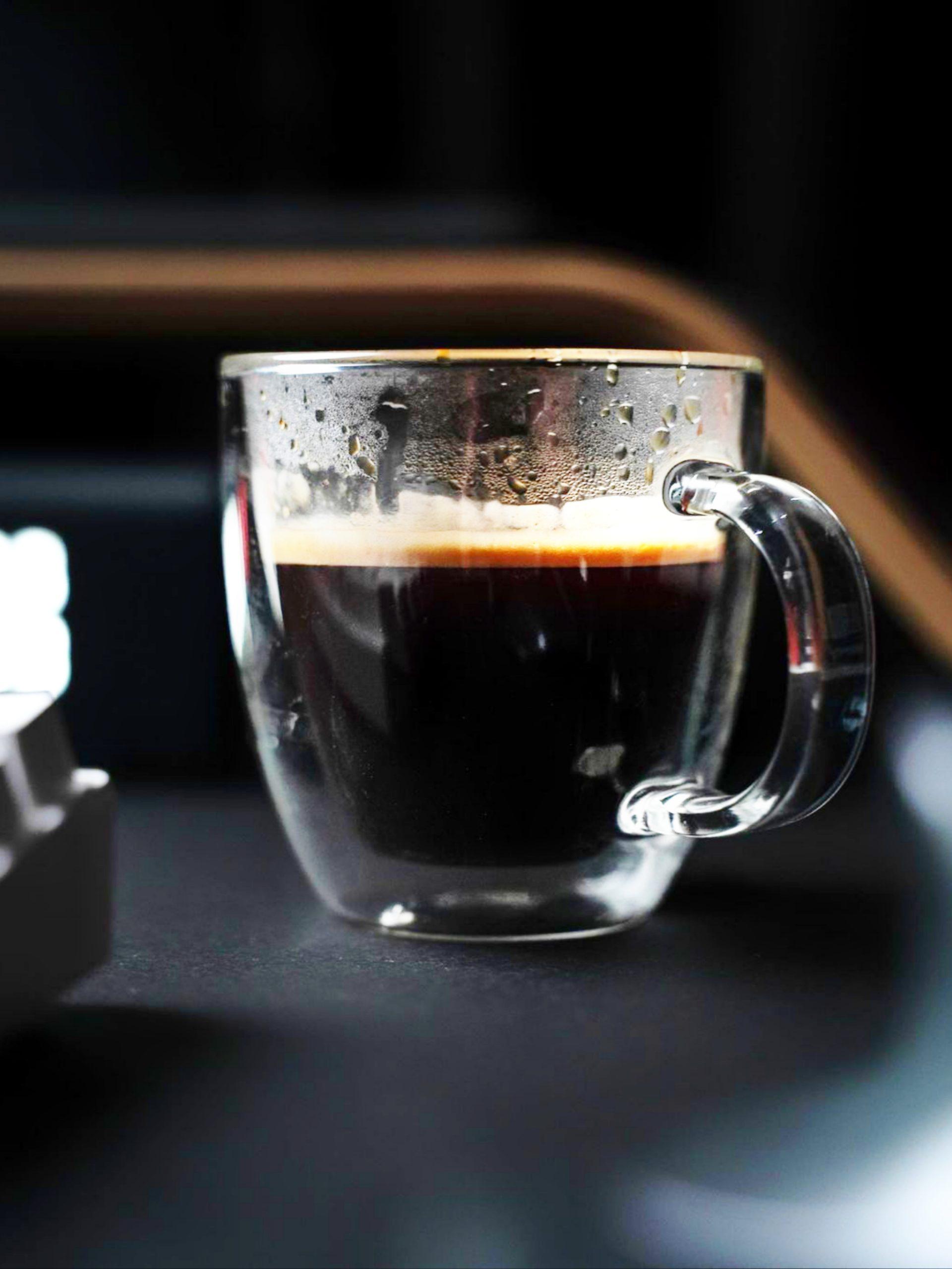 Coffee in a glass cup