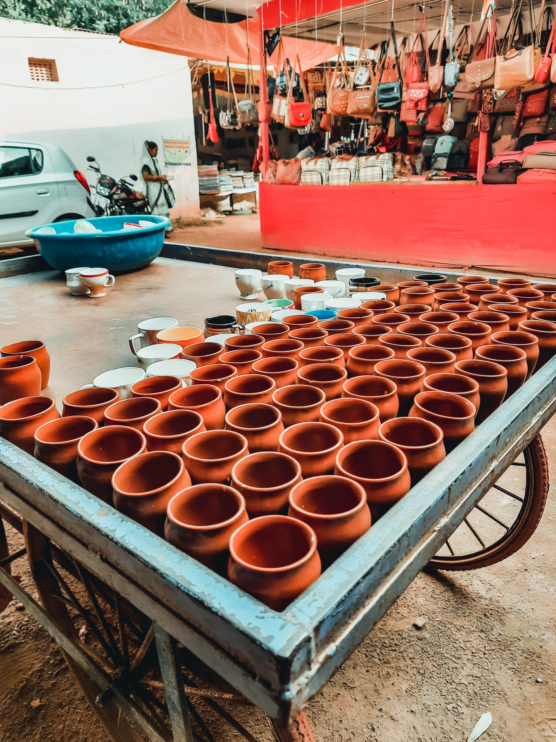 Clay pots on a cart