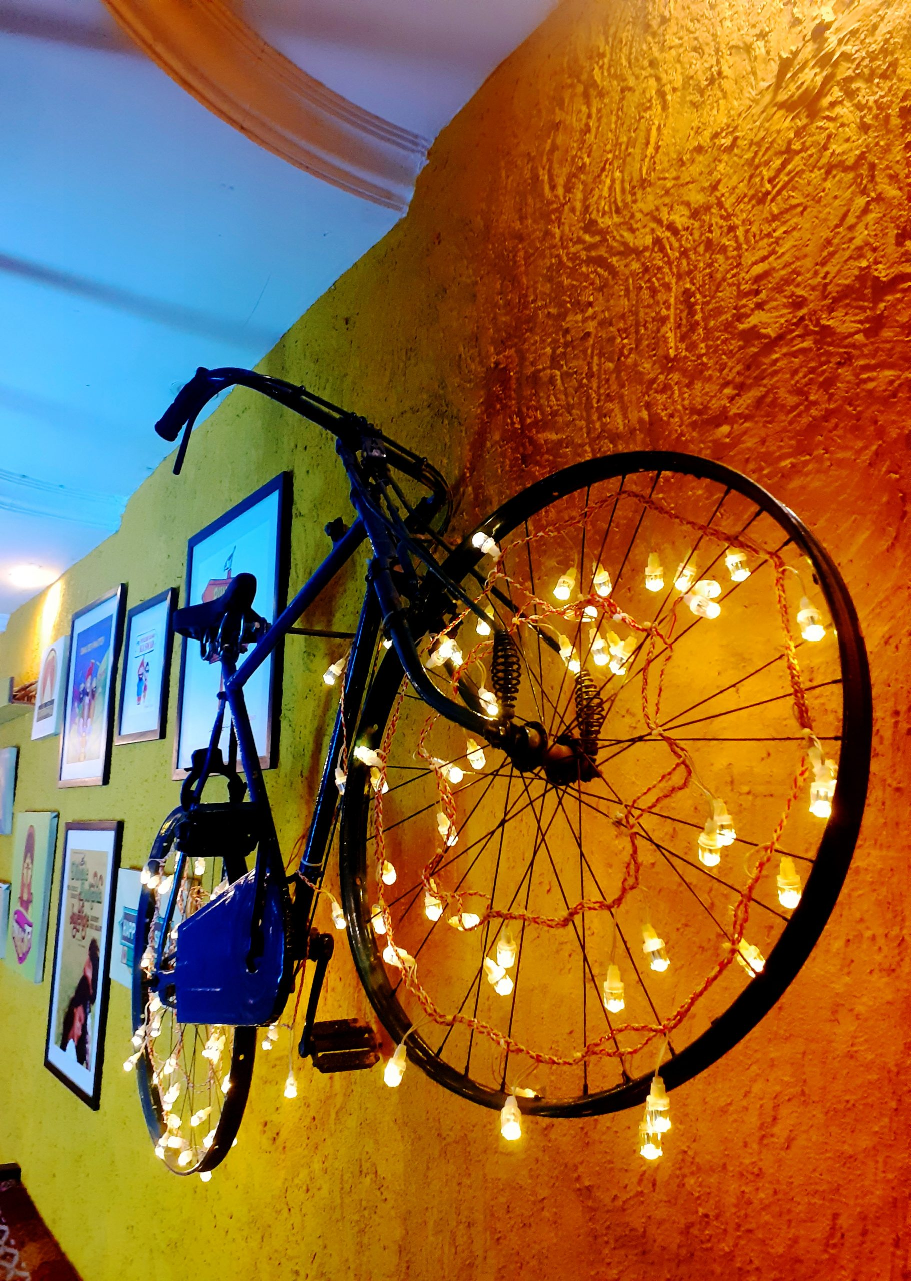 cycle hanging on the wall