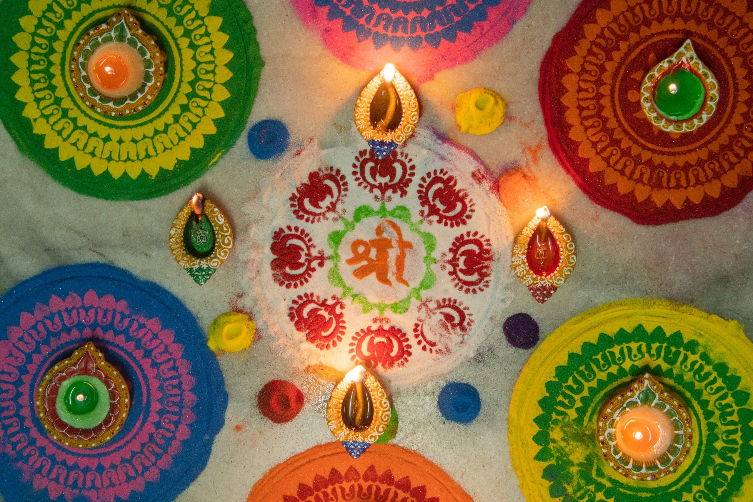 rangoli with diyas