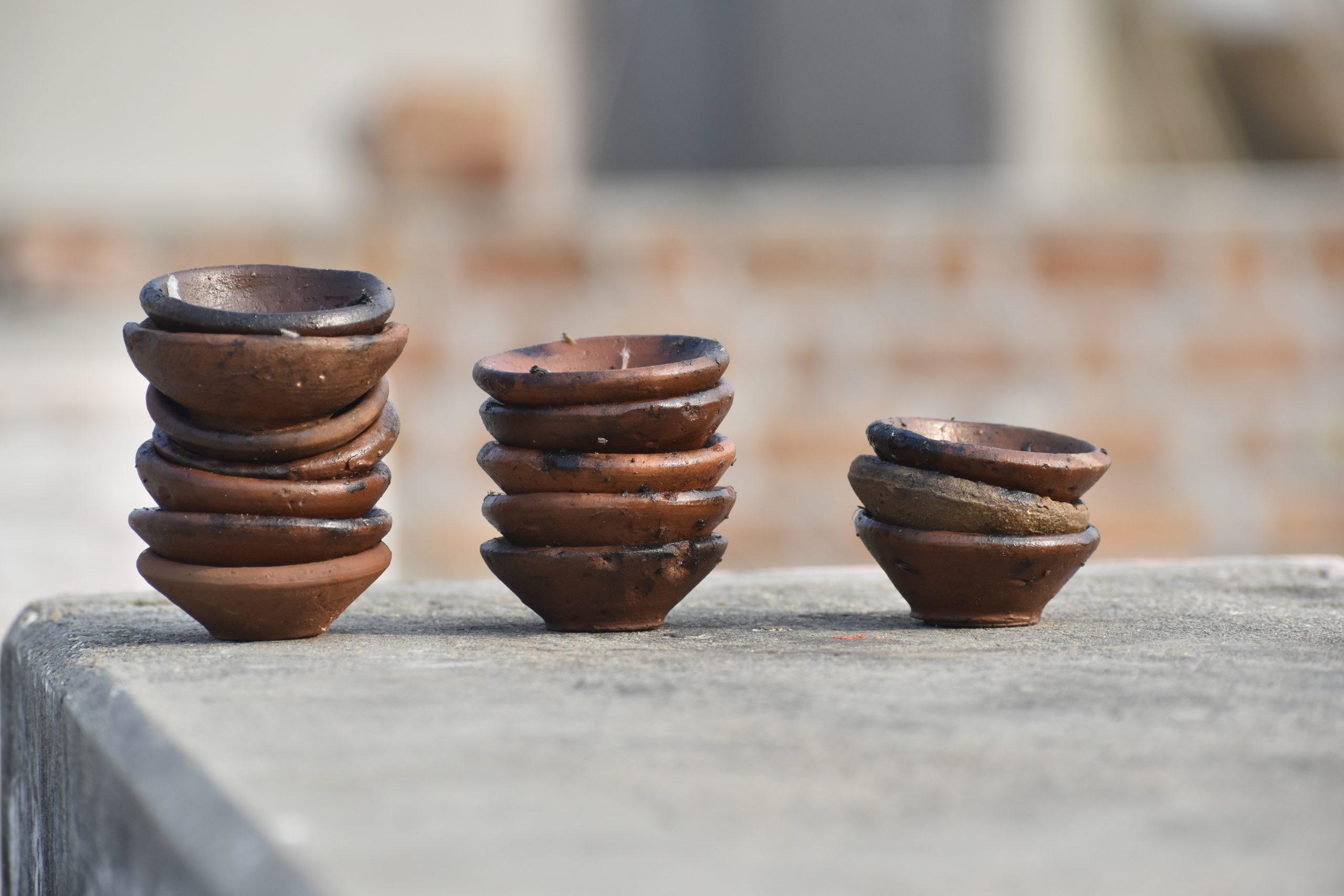 Diwali clay lamps