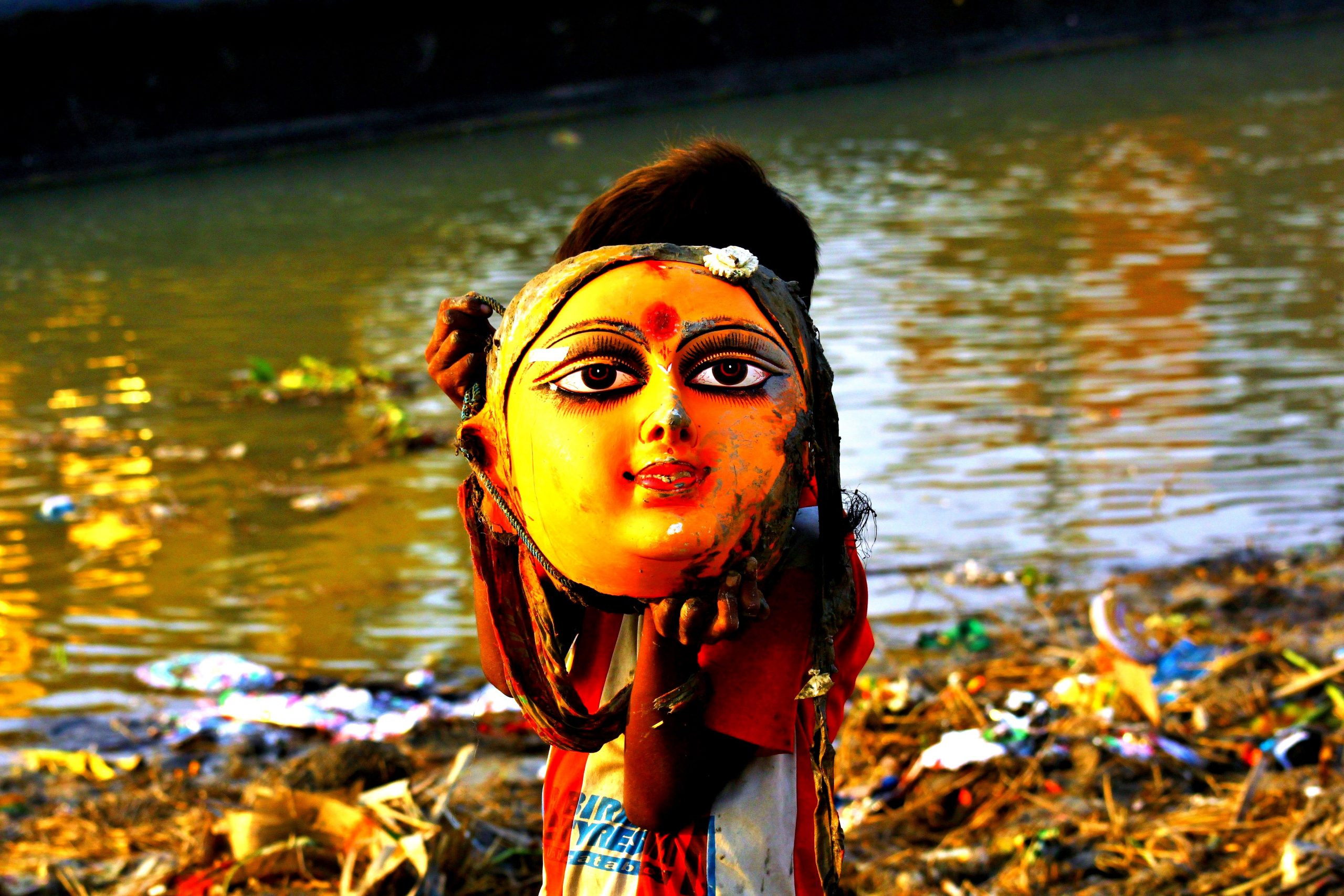 Face of goddess after immersion in river