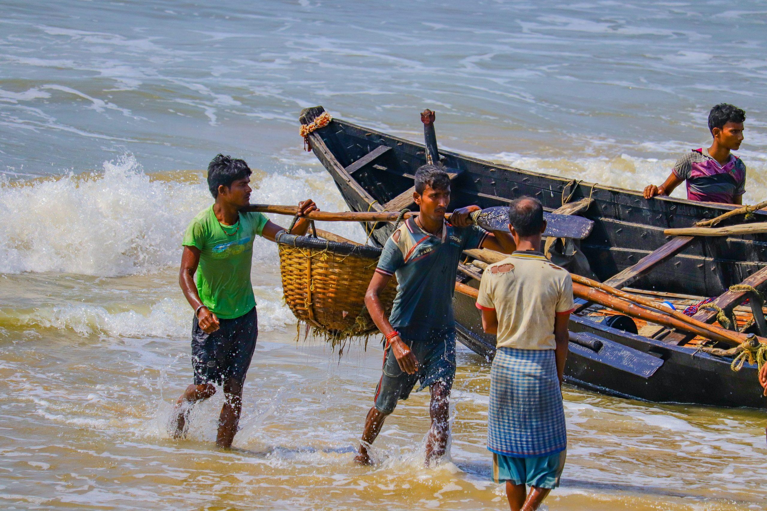 Fishermen at a beach