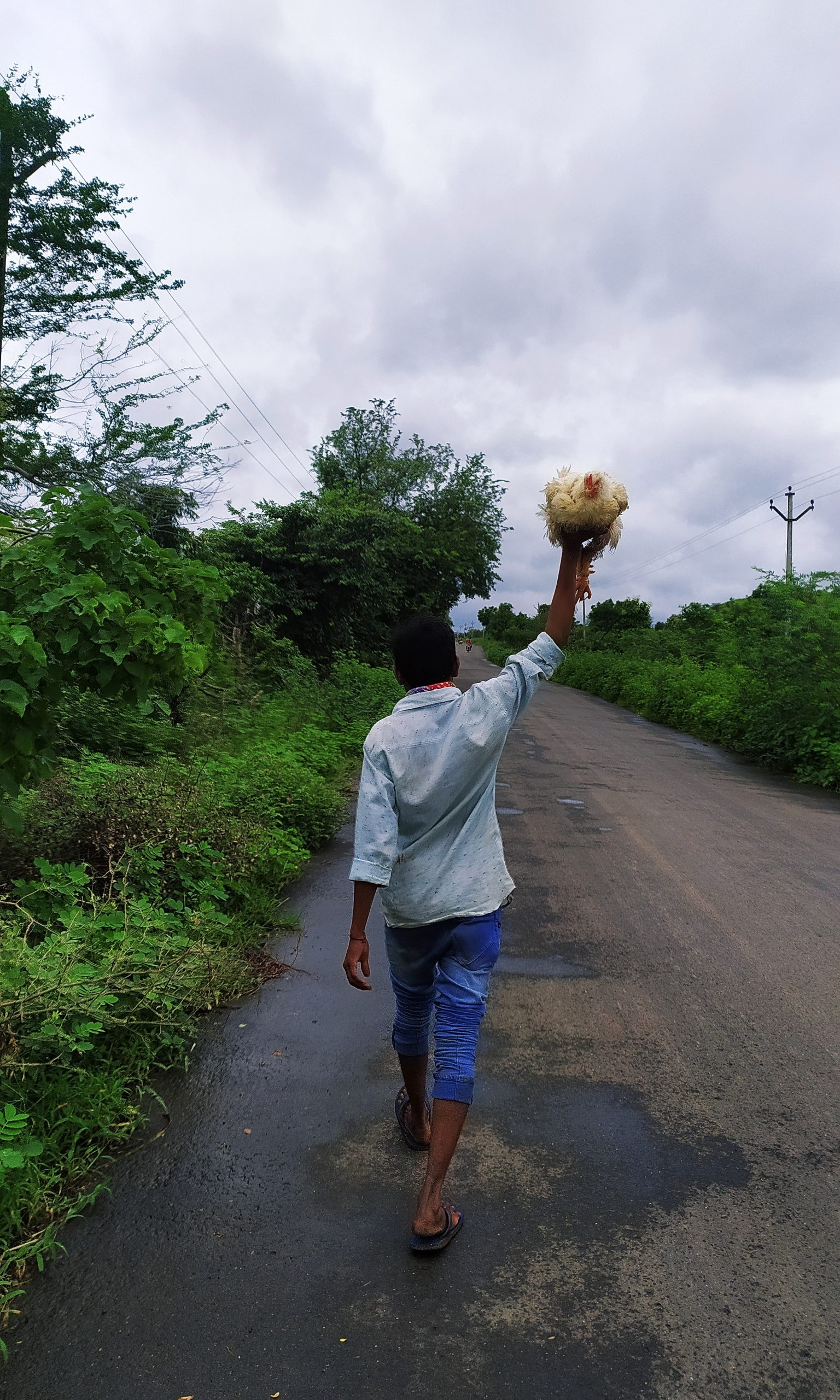 A man walking with hen