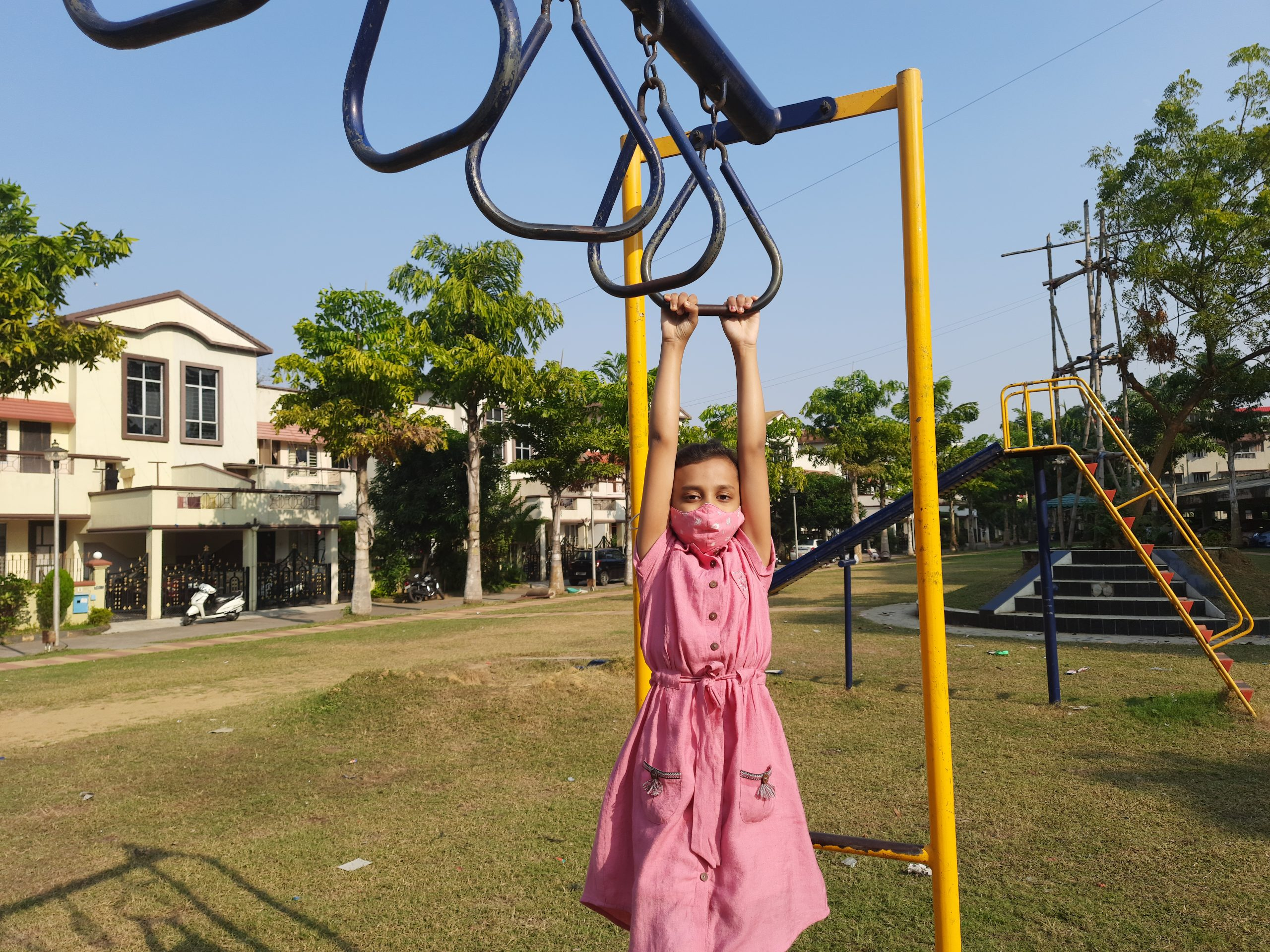 A girl exercising in a park