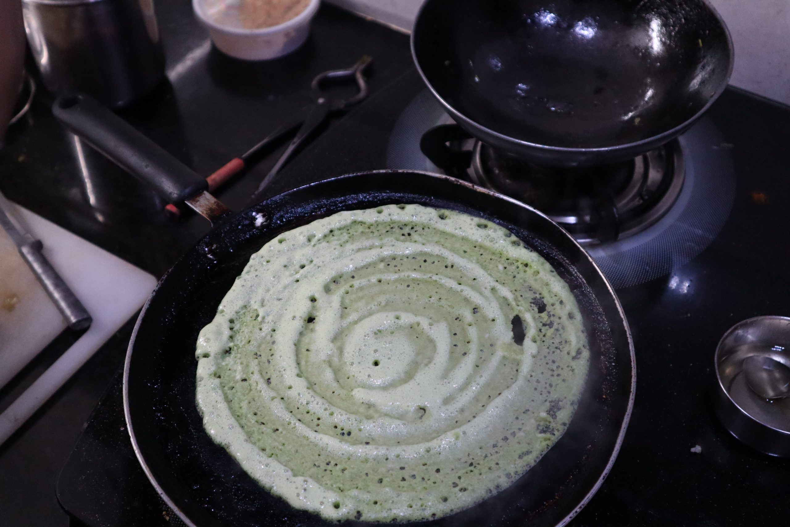dosa being cooked