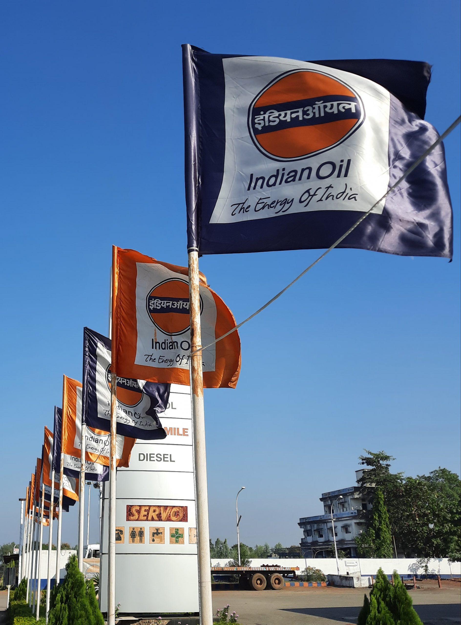 Indian oil petrol pump flags