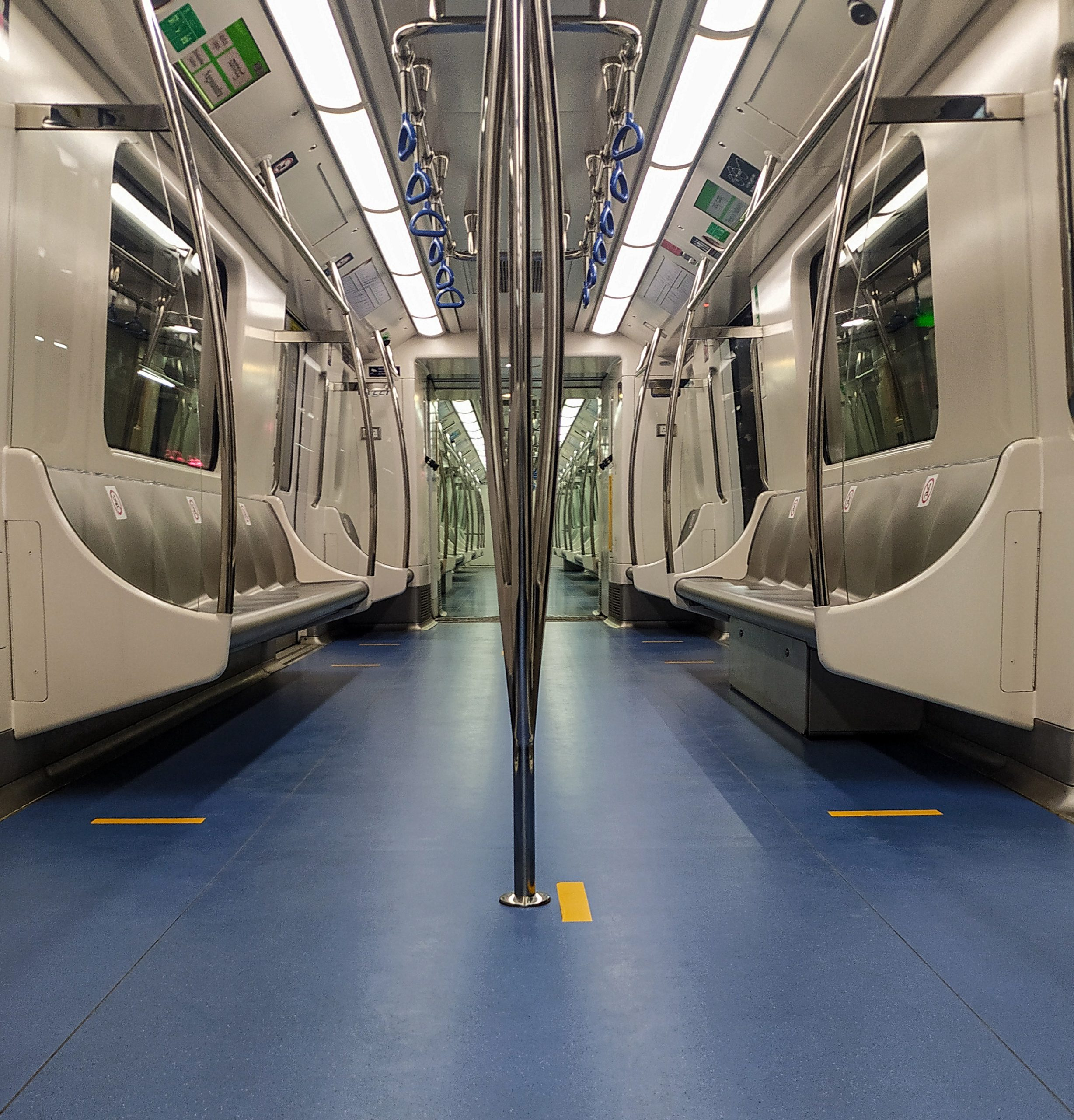 Inside view of metro train