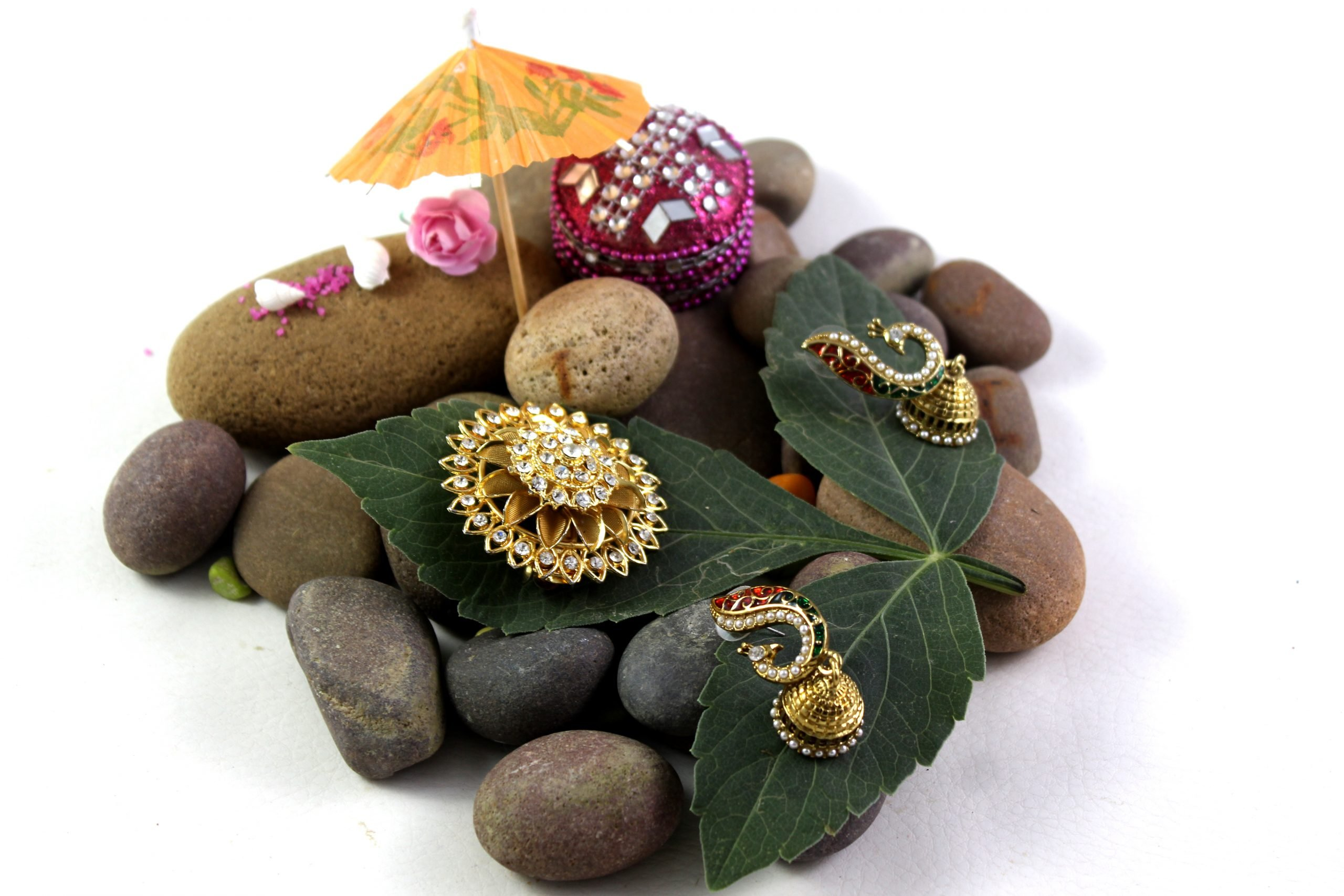 Jewelry pieces on stones