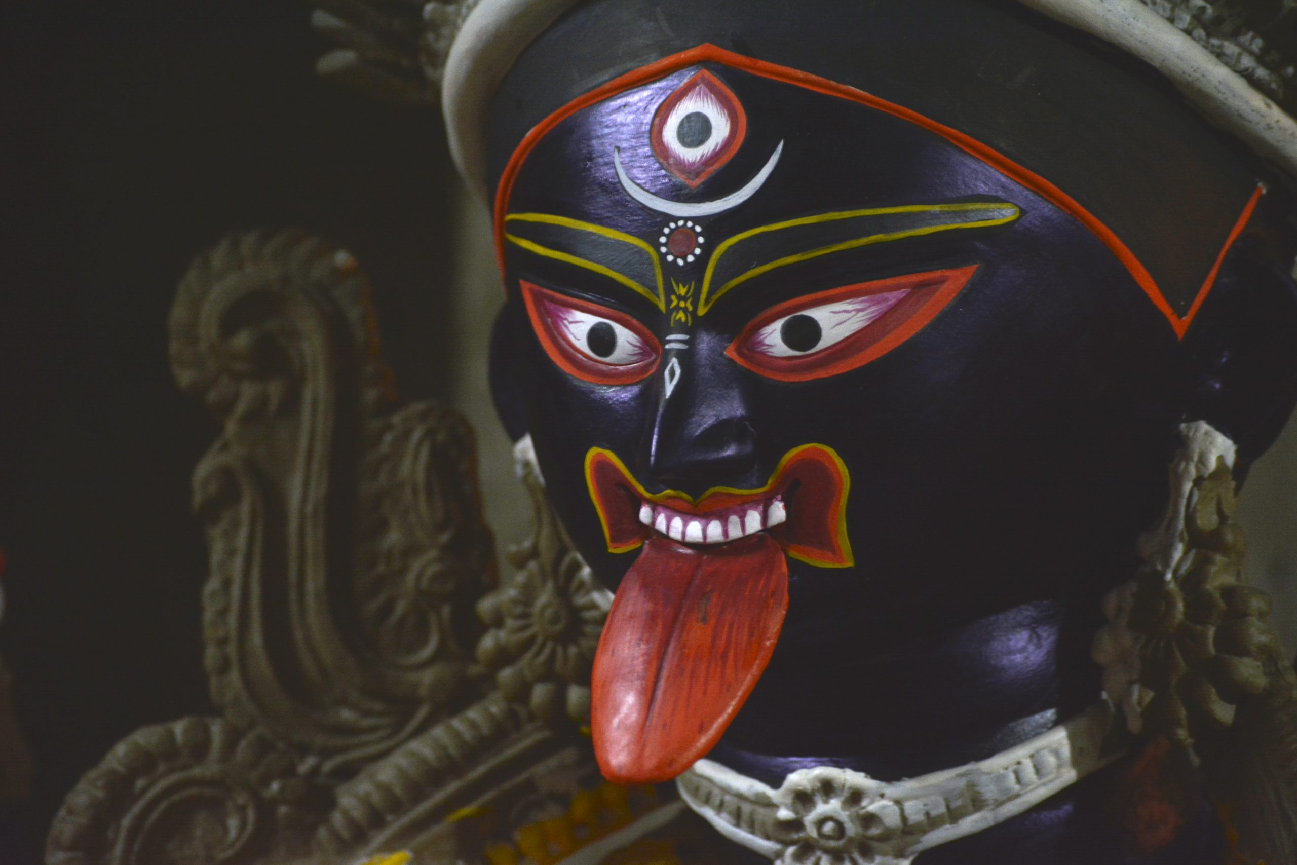 statue of Kali in Durga Puja