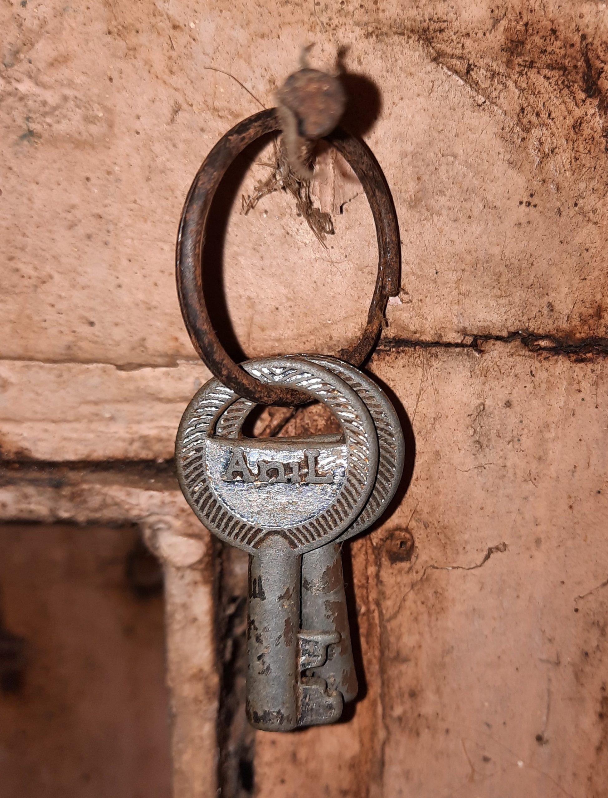 Keys hanging on a rivet