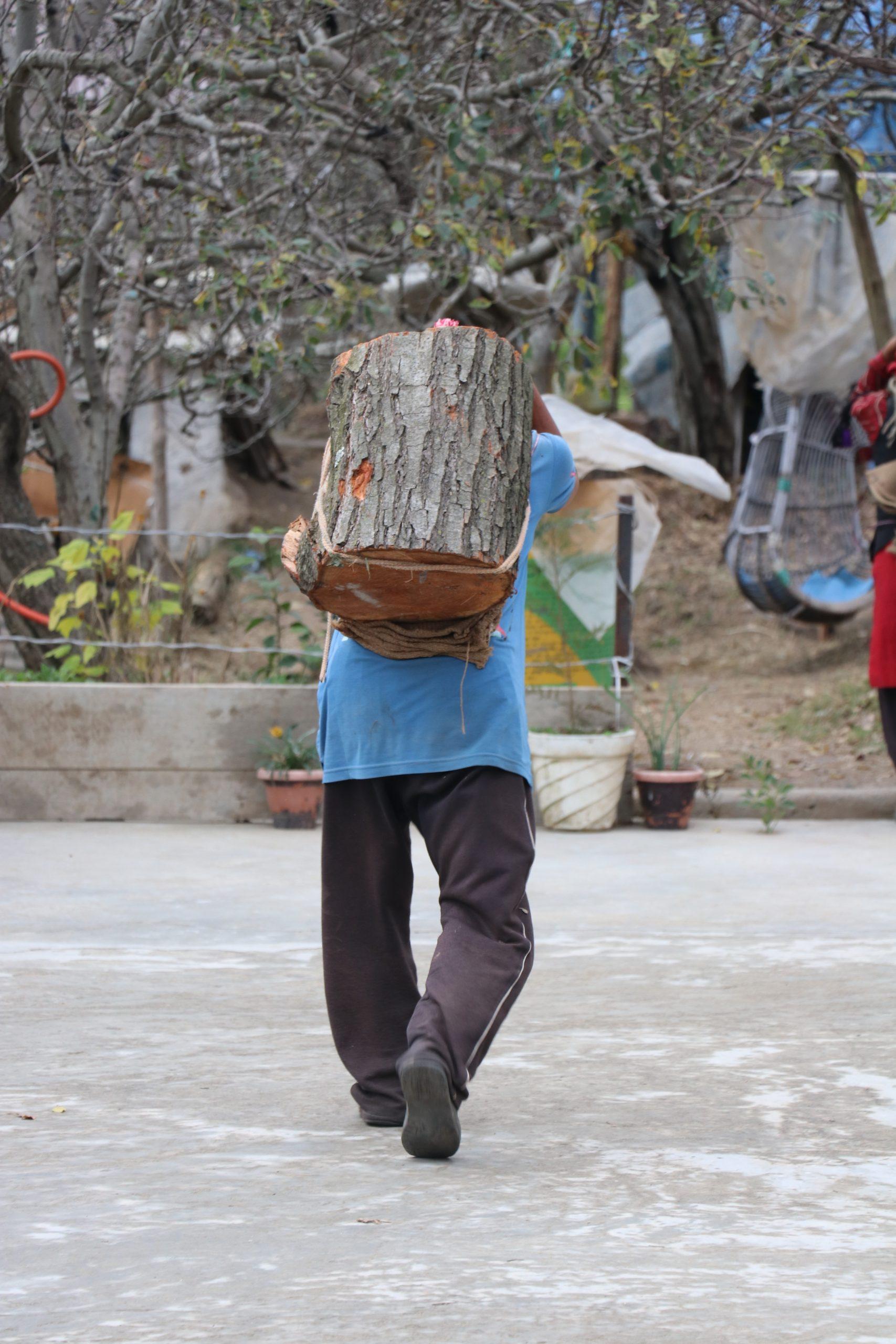 A man carrying wooden log