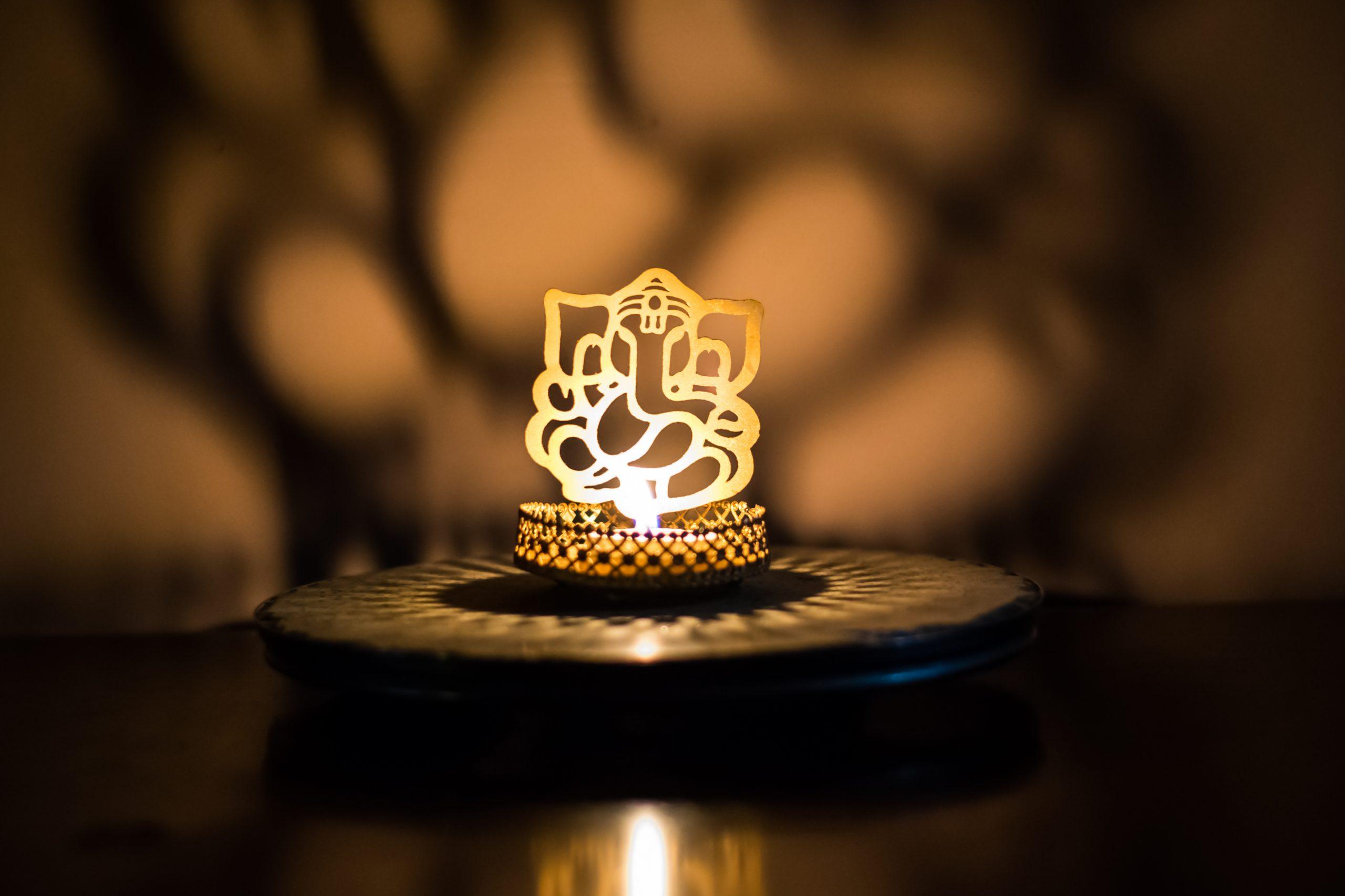 Lord Ganesh figurine with lights