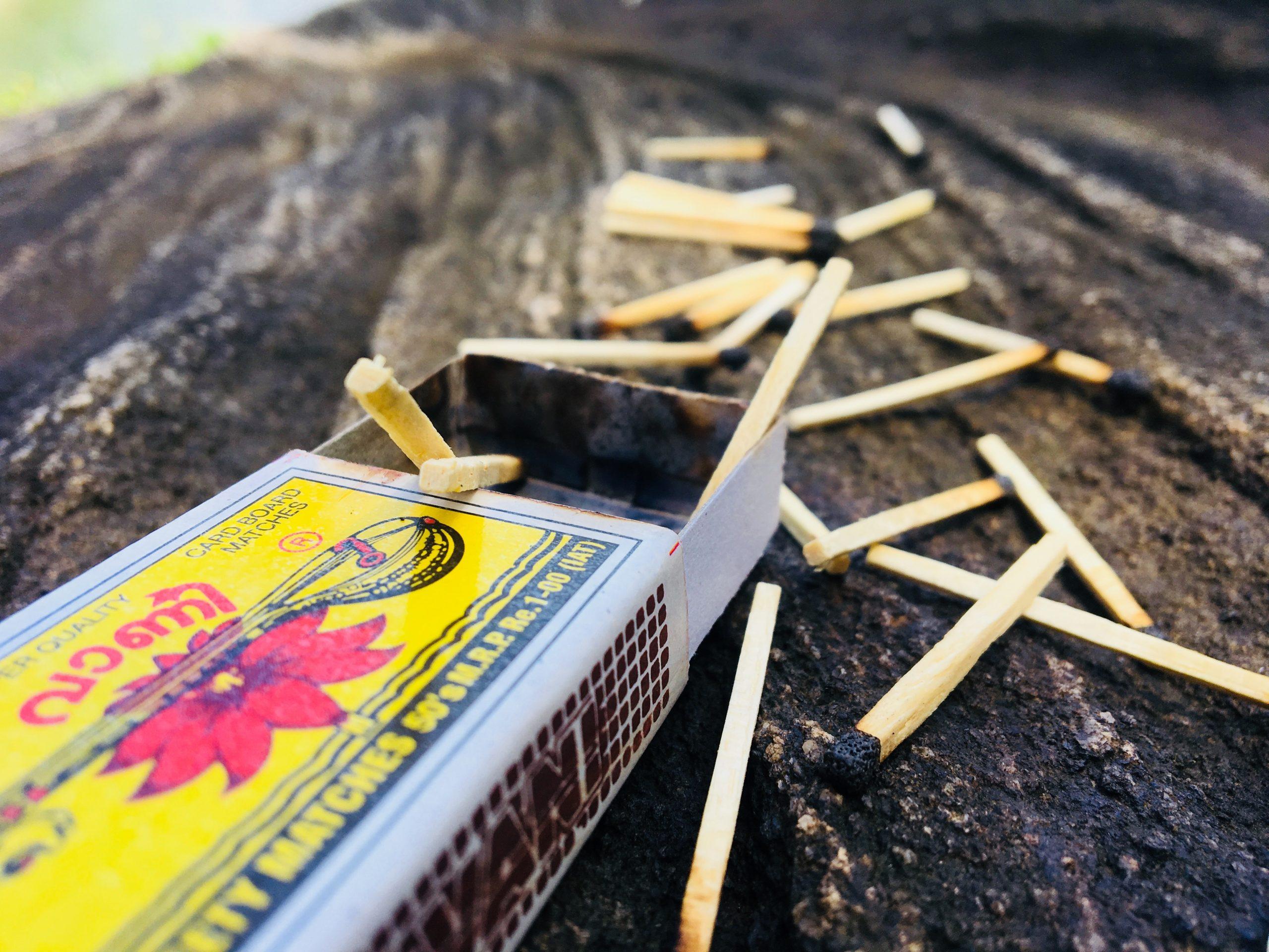 matchsticks and matchbox
