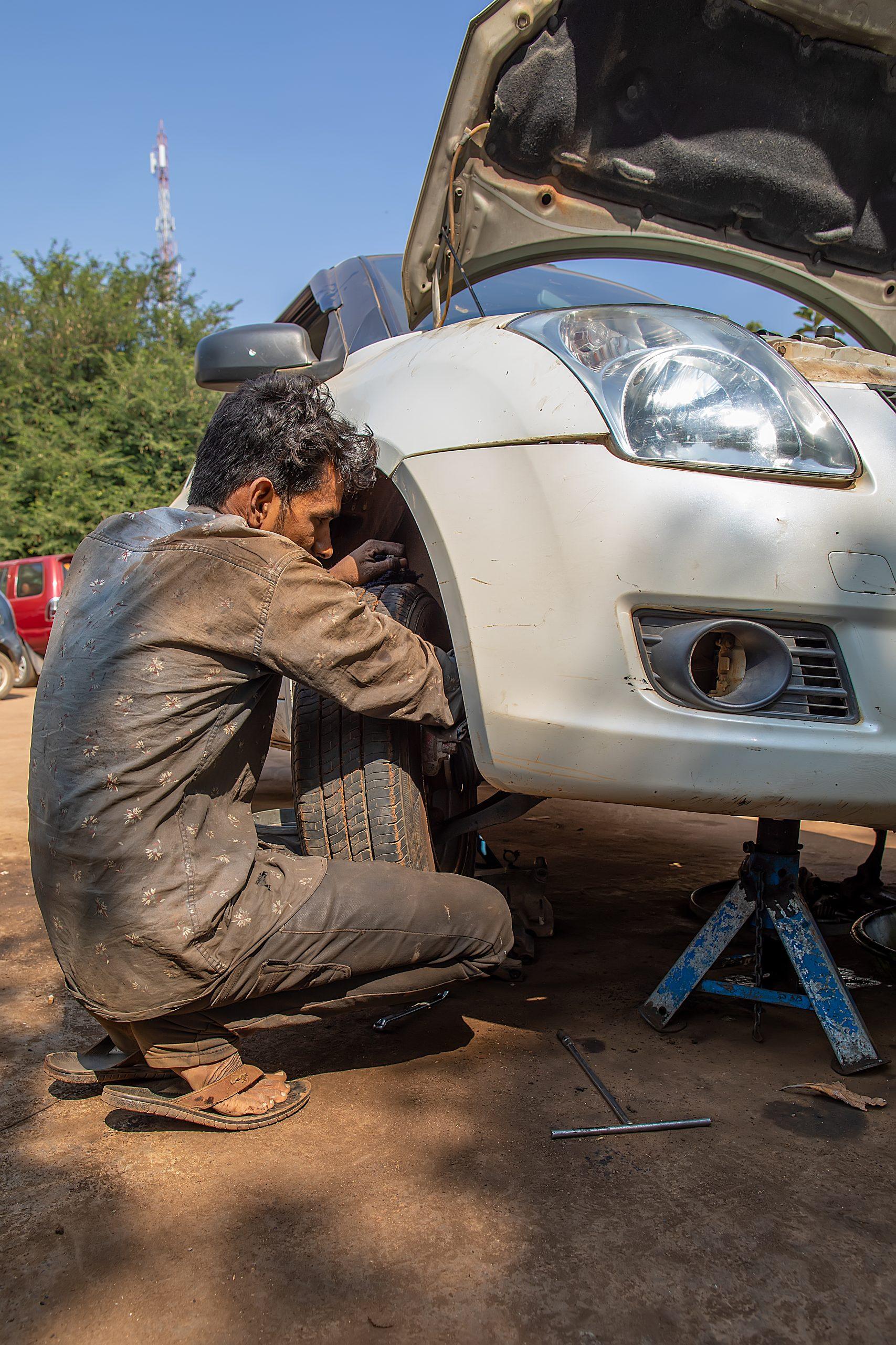 A car mechanic at work