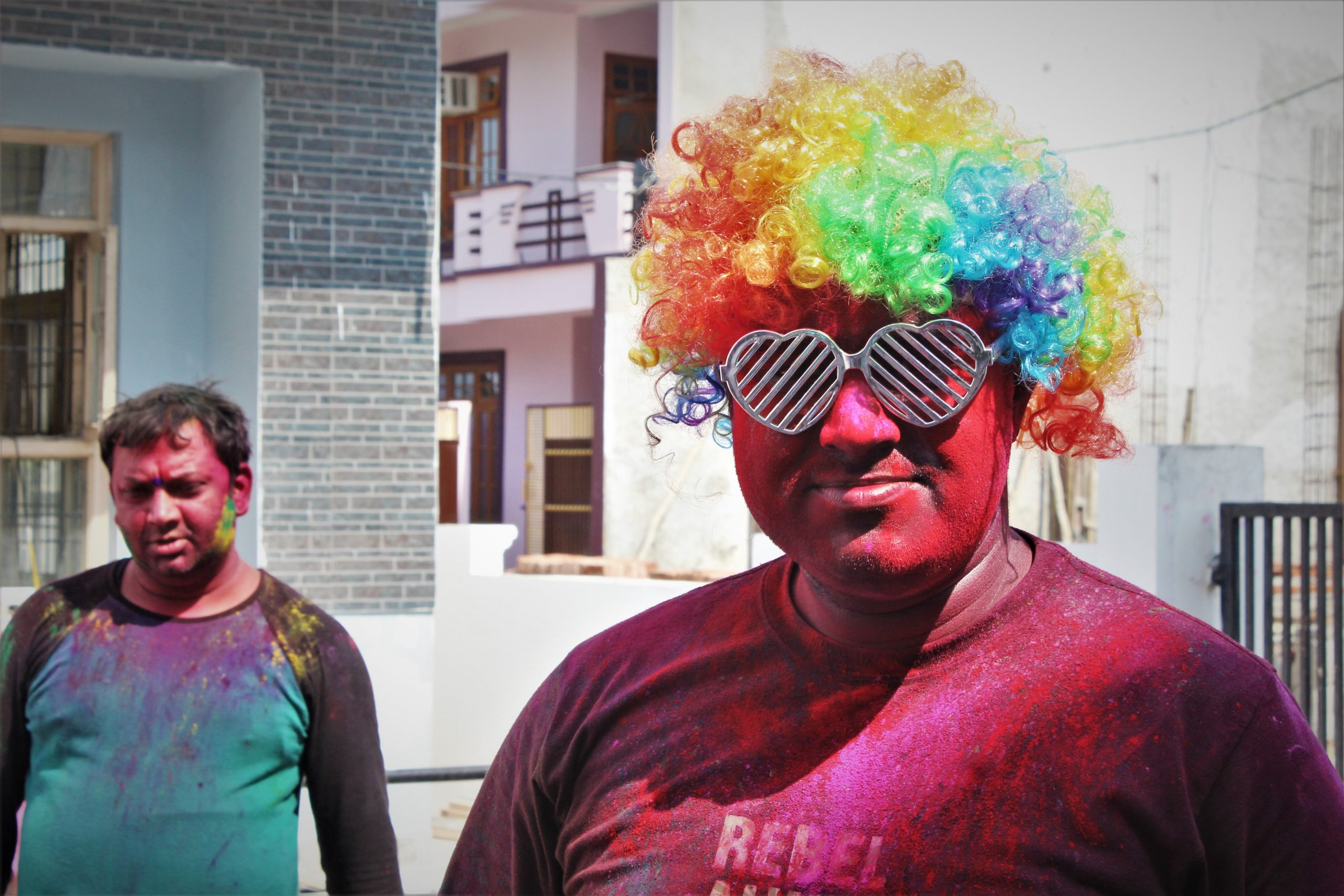 Men during Holi festival